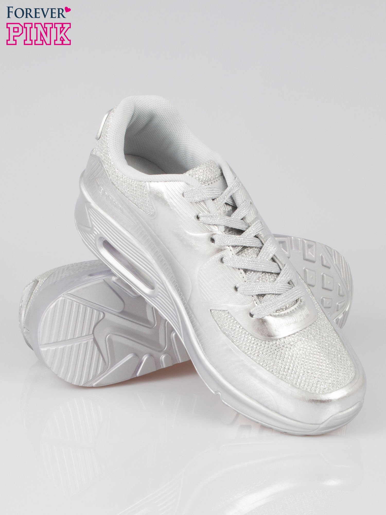Srebrne buty sportowe faux leather Desire na podeszwie z poduszką powietrzną                                  zdj.                                  4