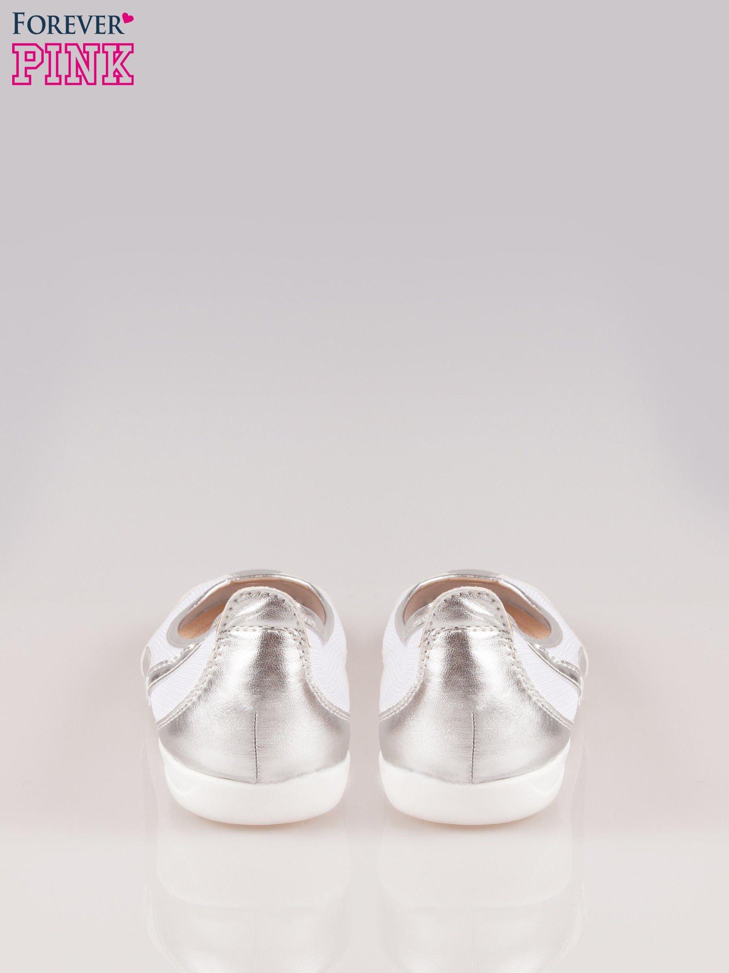 Srebrne siateczkowe baleriny Comfort w sportowym stylu                                  zdj.                                  3