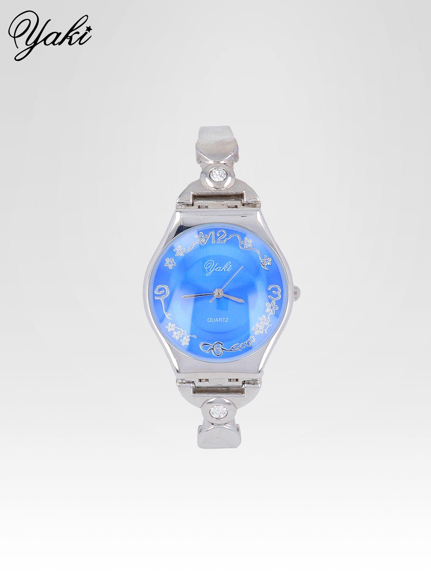 Srebrny biżuteryjny zegarek damski z niebieską tarczą                                  zdj.                                  1