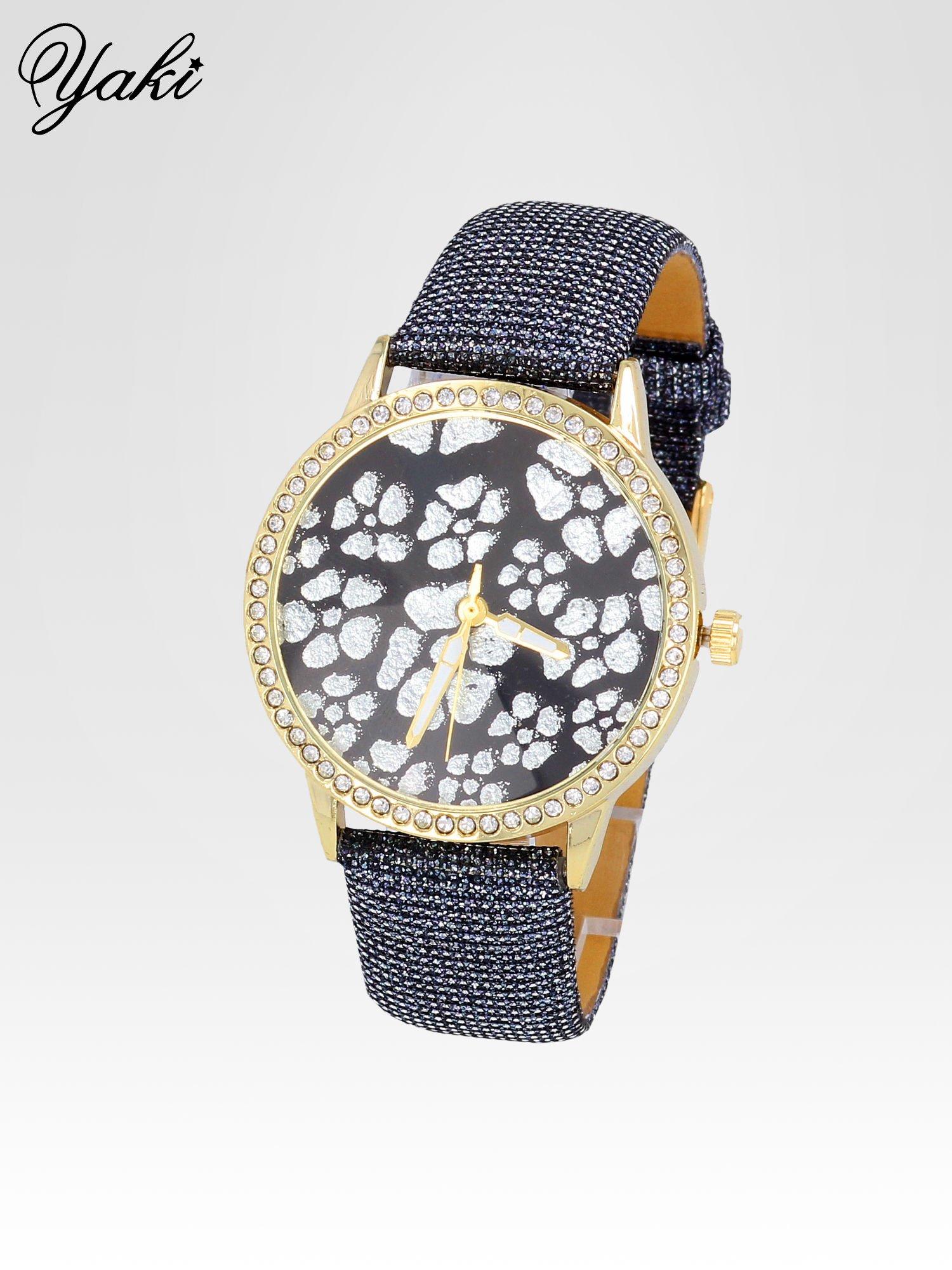 Srebrny zegarek damski na błyszczącym paski z cyrkoniami na kopercie                                  zdj.                                  2