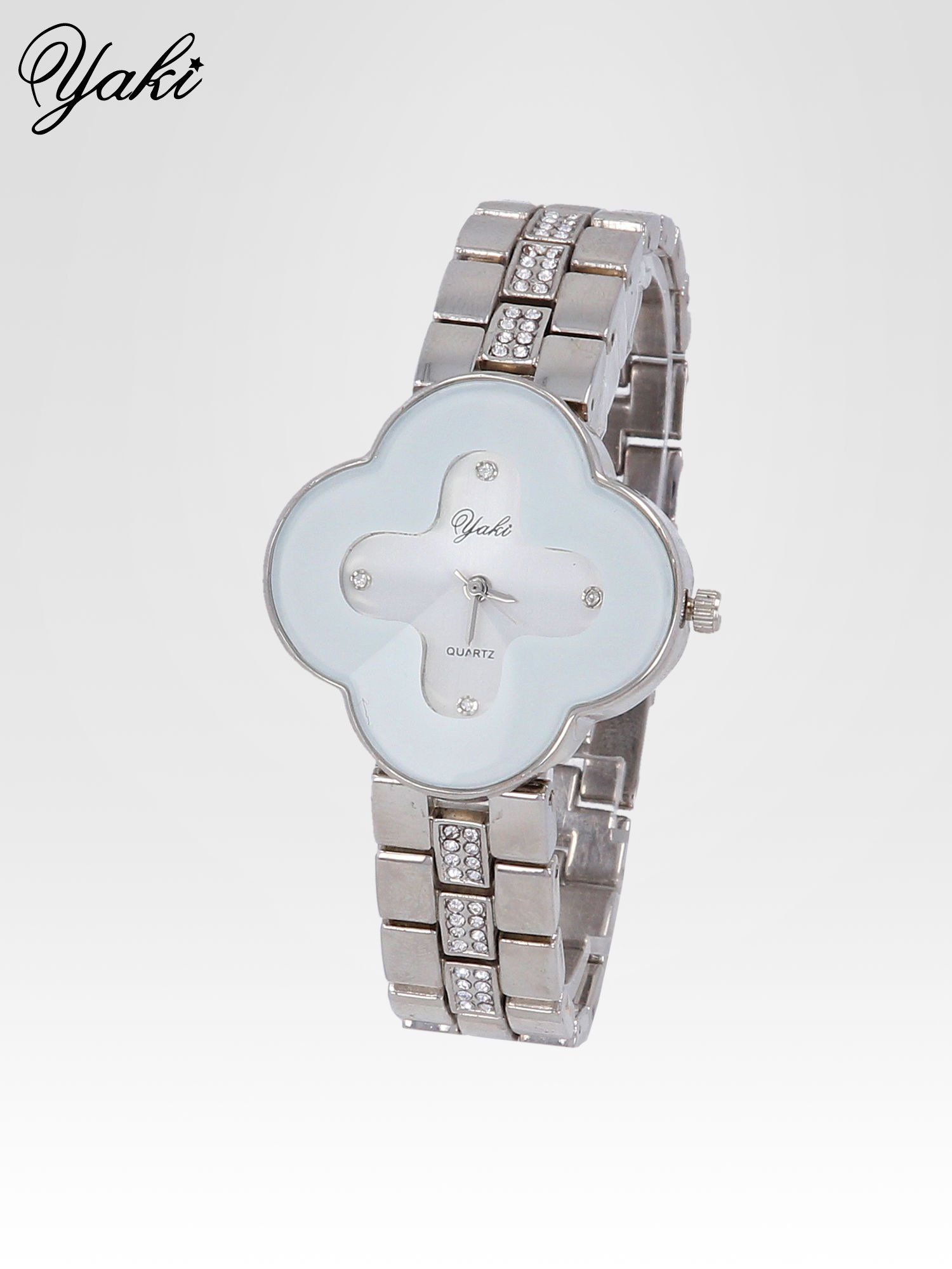 Srebrny zegarek damski na bransolecie z białą tarczą koniczyną                                  zdj.                                  2
