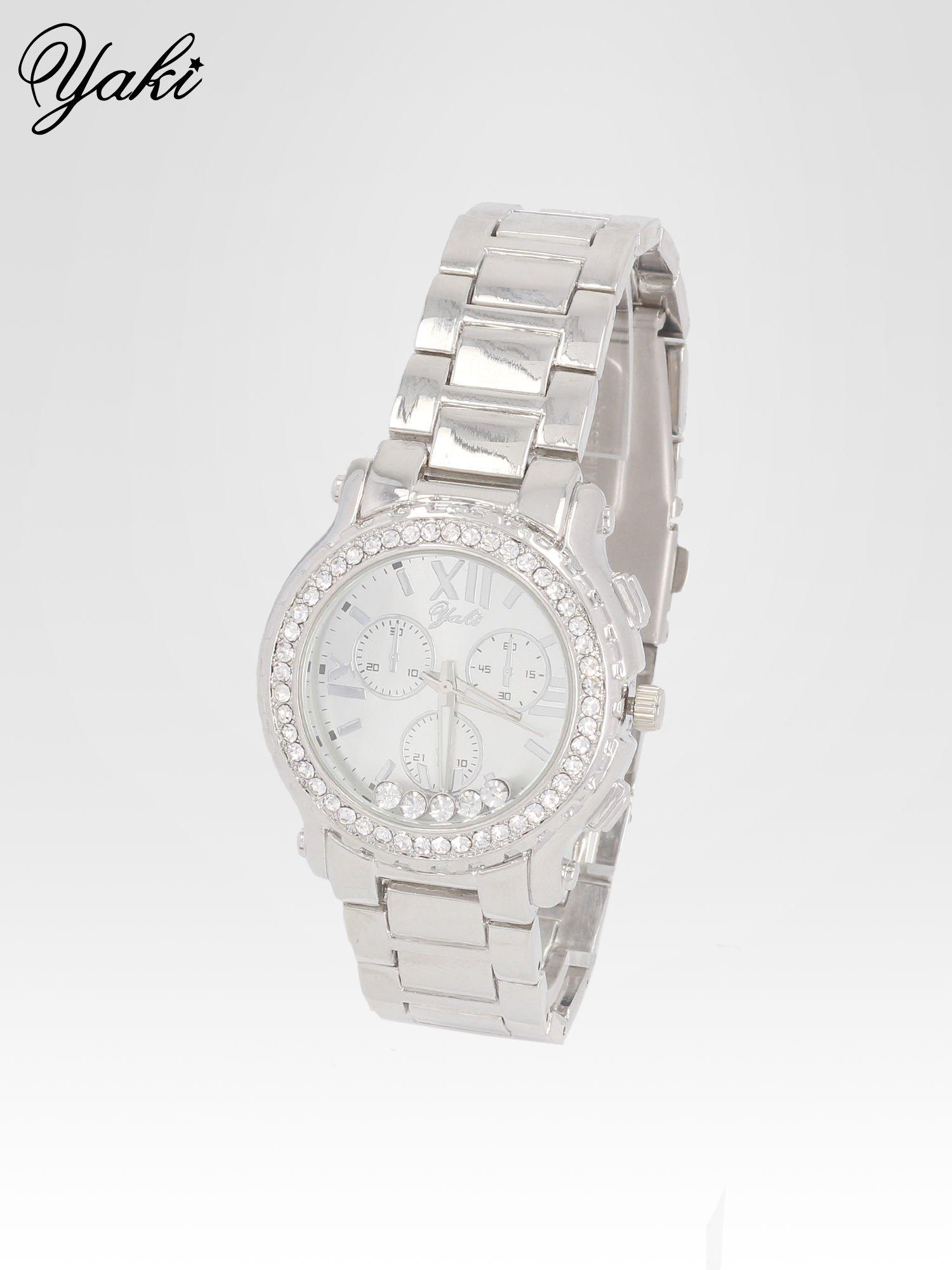 Srebrny zegarek damski na bransolecie z cyrkoniami na kopercie                                  zdj.                                  2