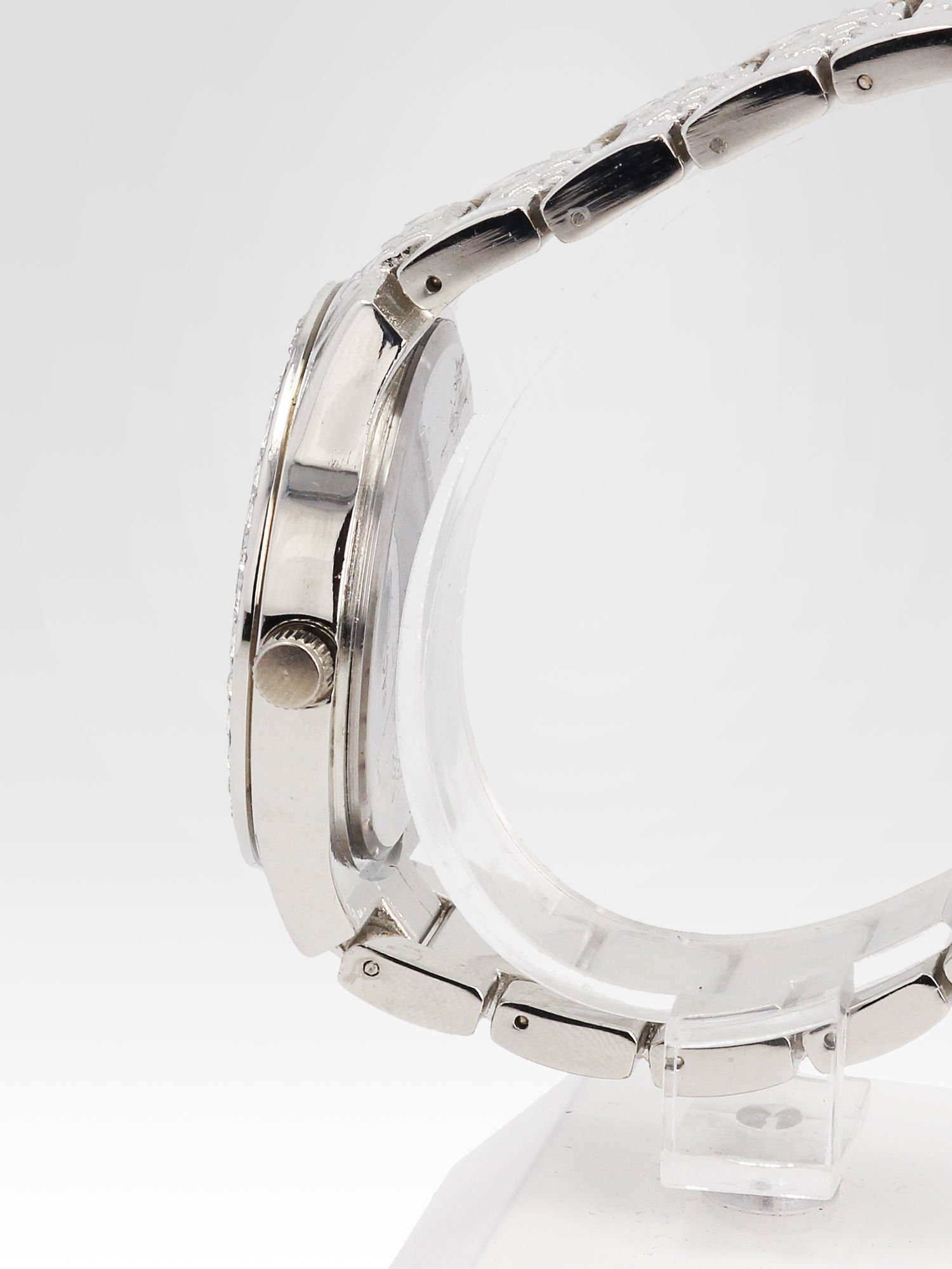 Srebrny zegarek damski na bransolecie z cyrkoniową kopertą                                  zdj.                                  3