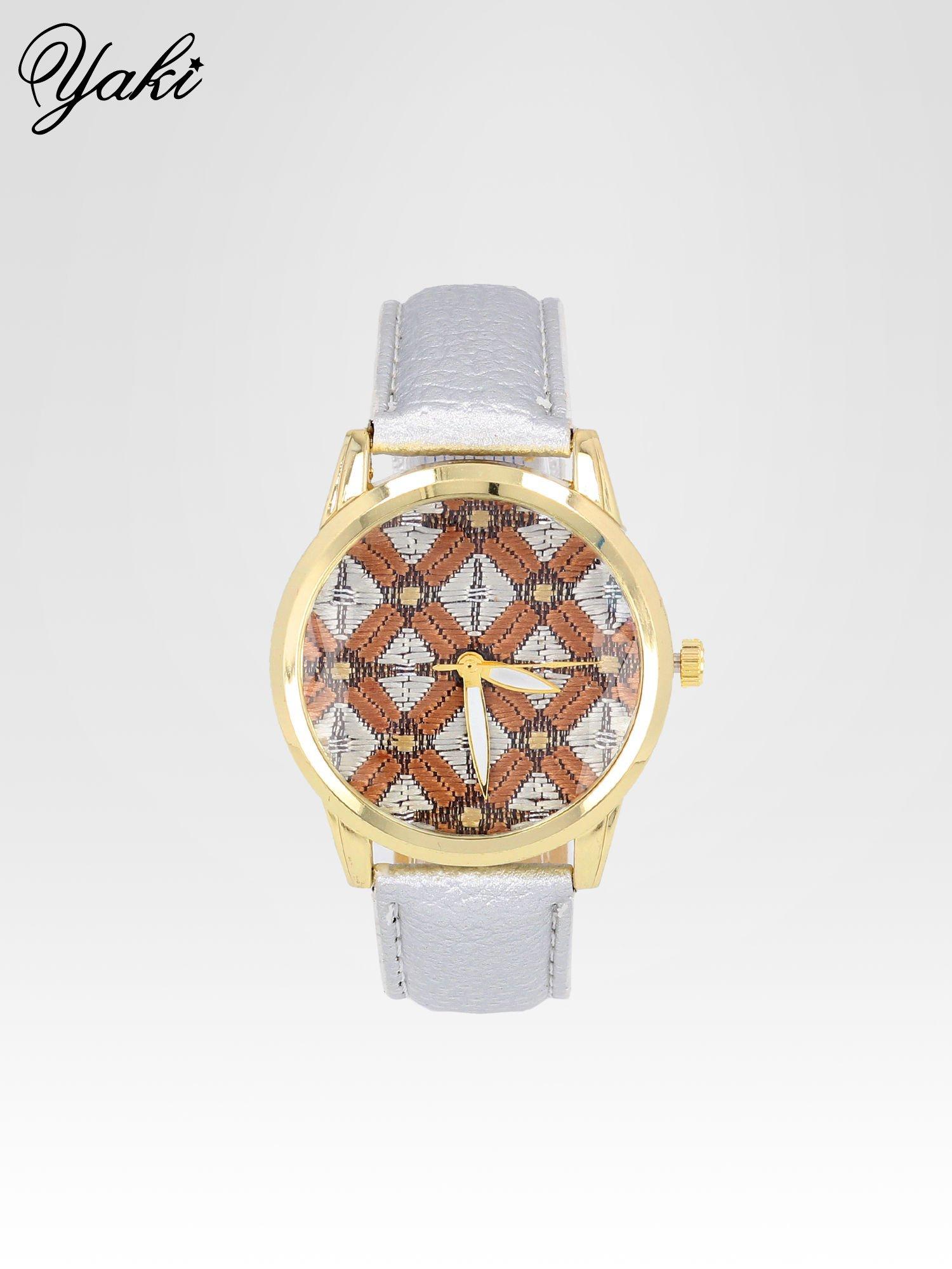 Srebrny zegarek damski ze złotą kopertą i etno tarczą                                  zdj.                                  1