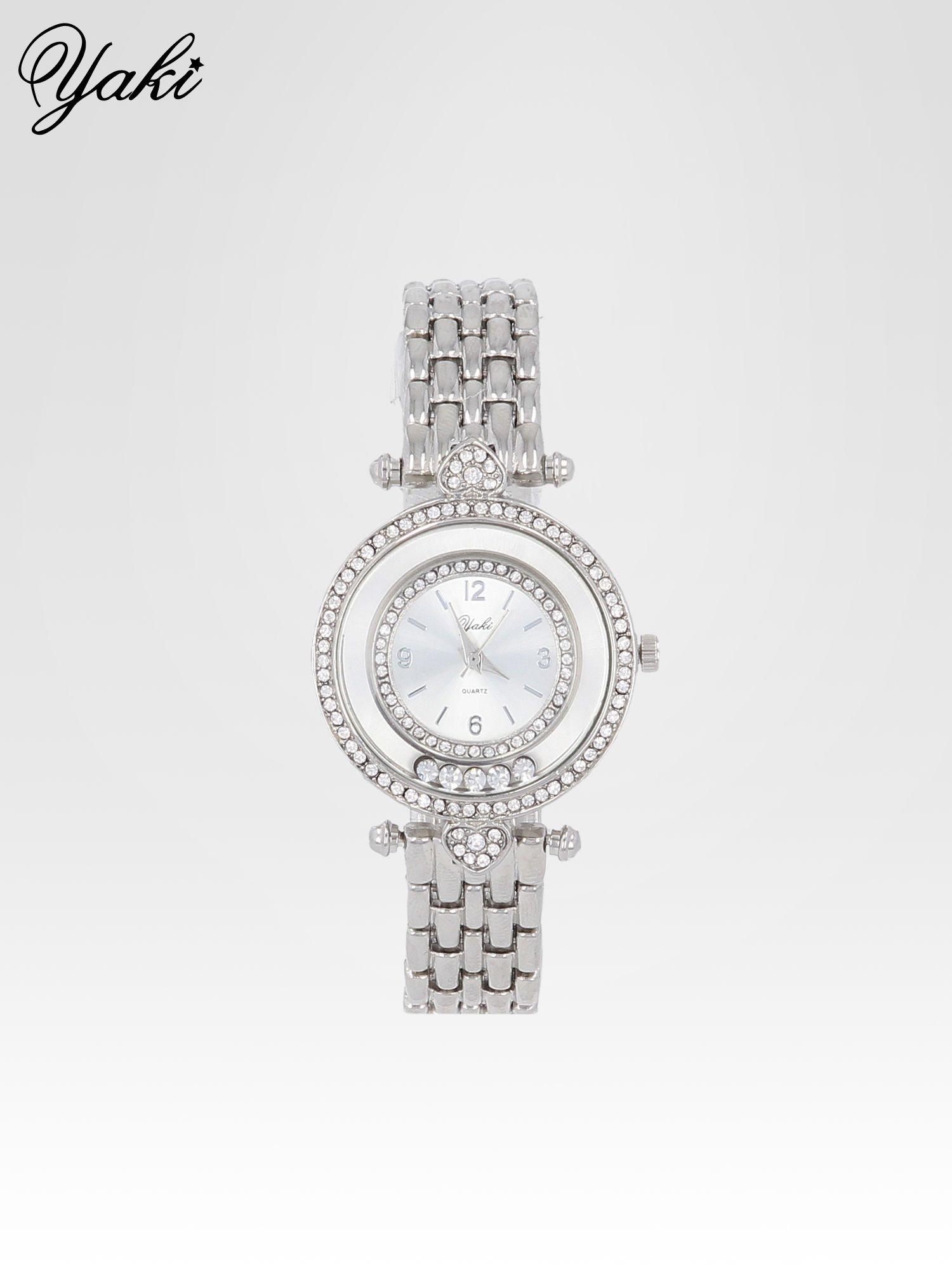 Srebrny zegarek na bransolecie z cyrkoniowym serduszkiem                                  zdj.                                  1