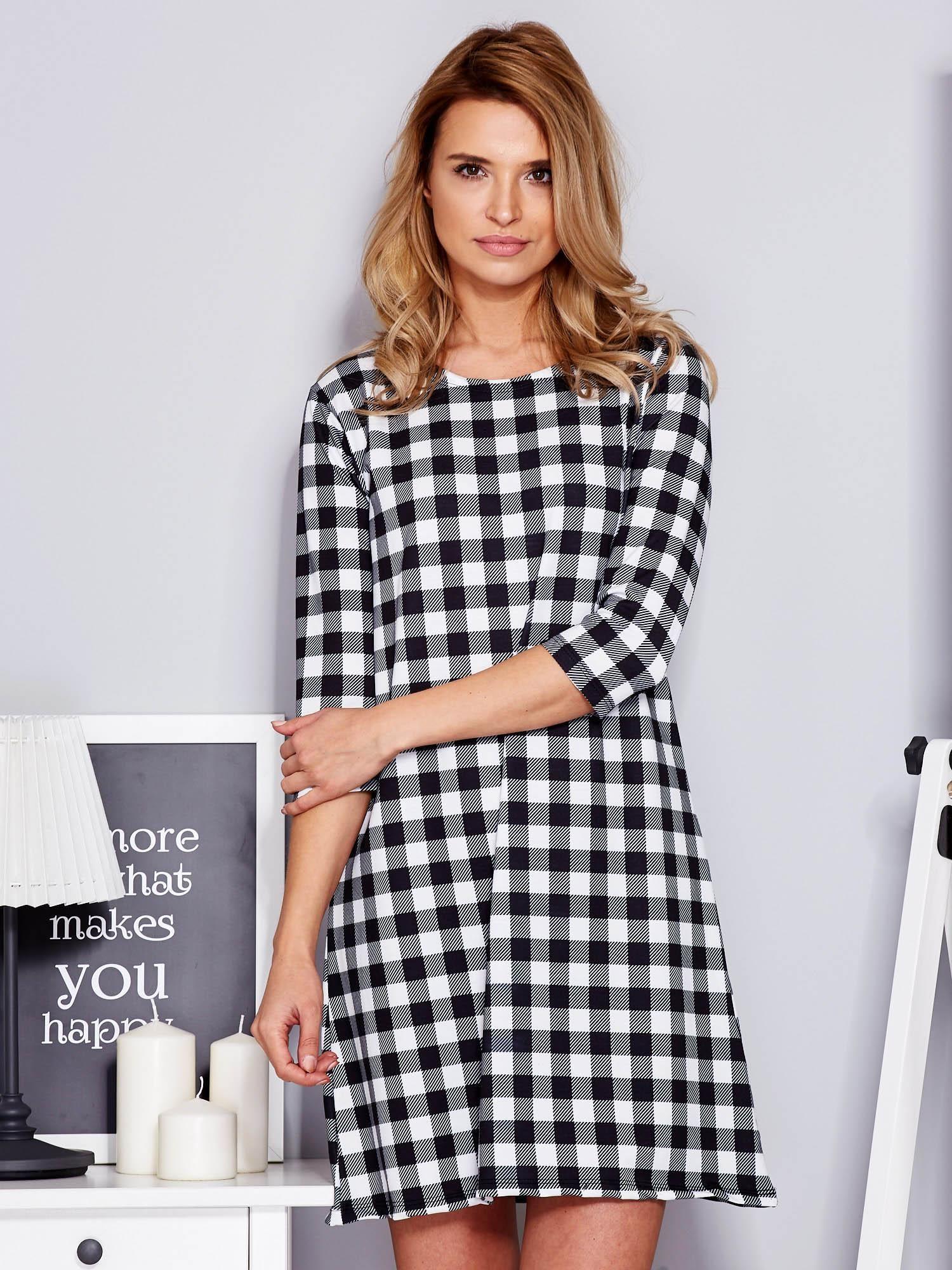 ba03e6533a Sukienka czarno-biała w kratkę - Sukienka na co dzień - sklep eButik.pl