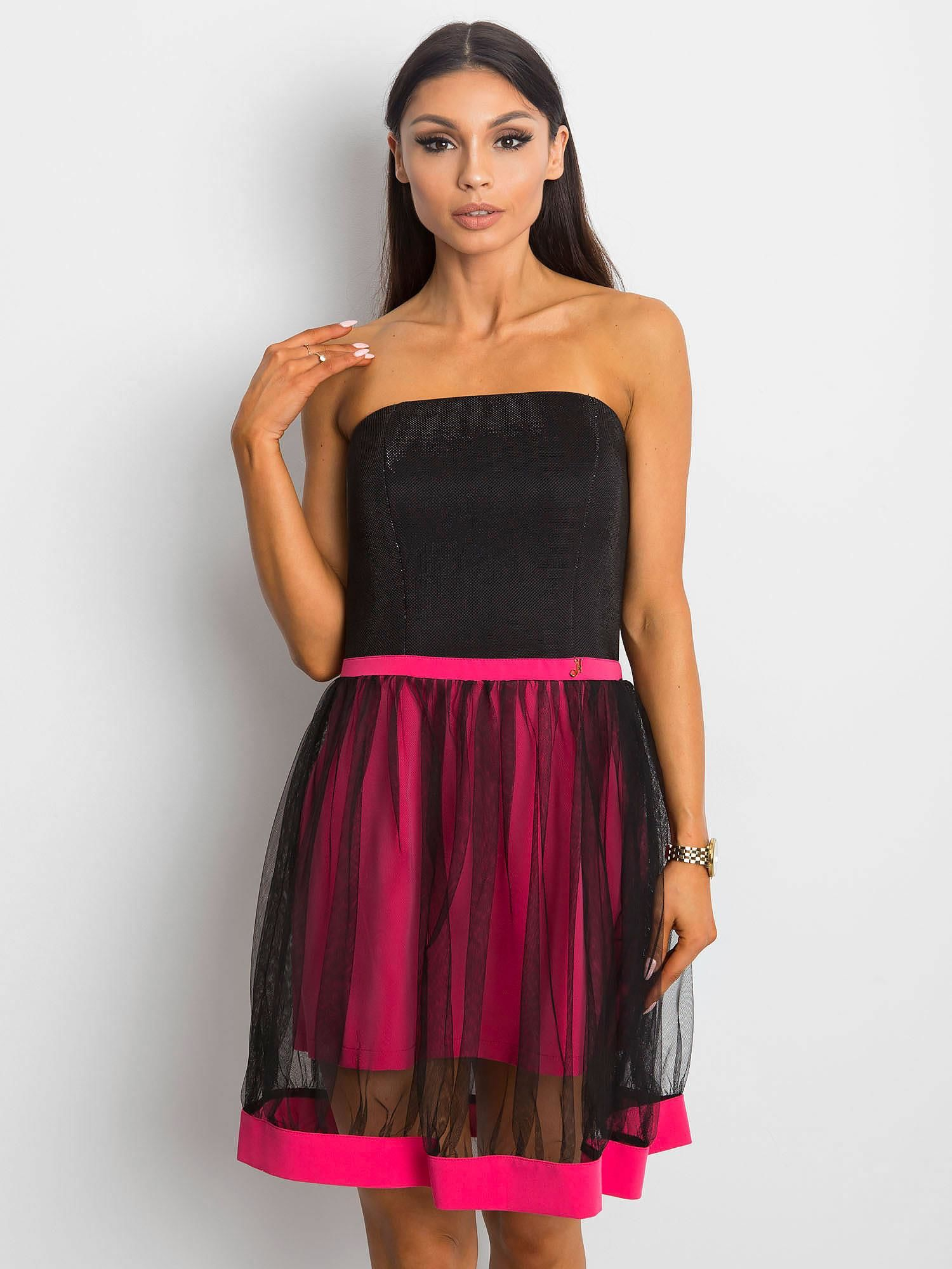 107f82d5fc Sukienka damska z tiulową spódnicą różowa - Sukienka koktajlowa ...