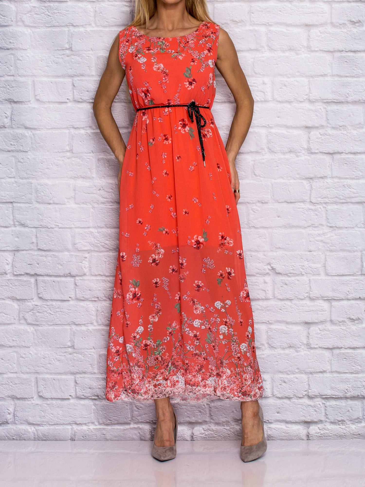 5f50985b4e Sukienka letnia maxi w delikatny kwiatowy wzór koralowa - Sukienka na co  dzień - sklep eButik.pl