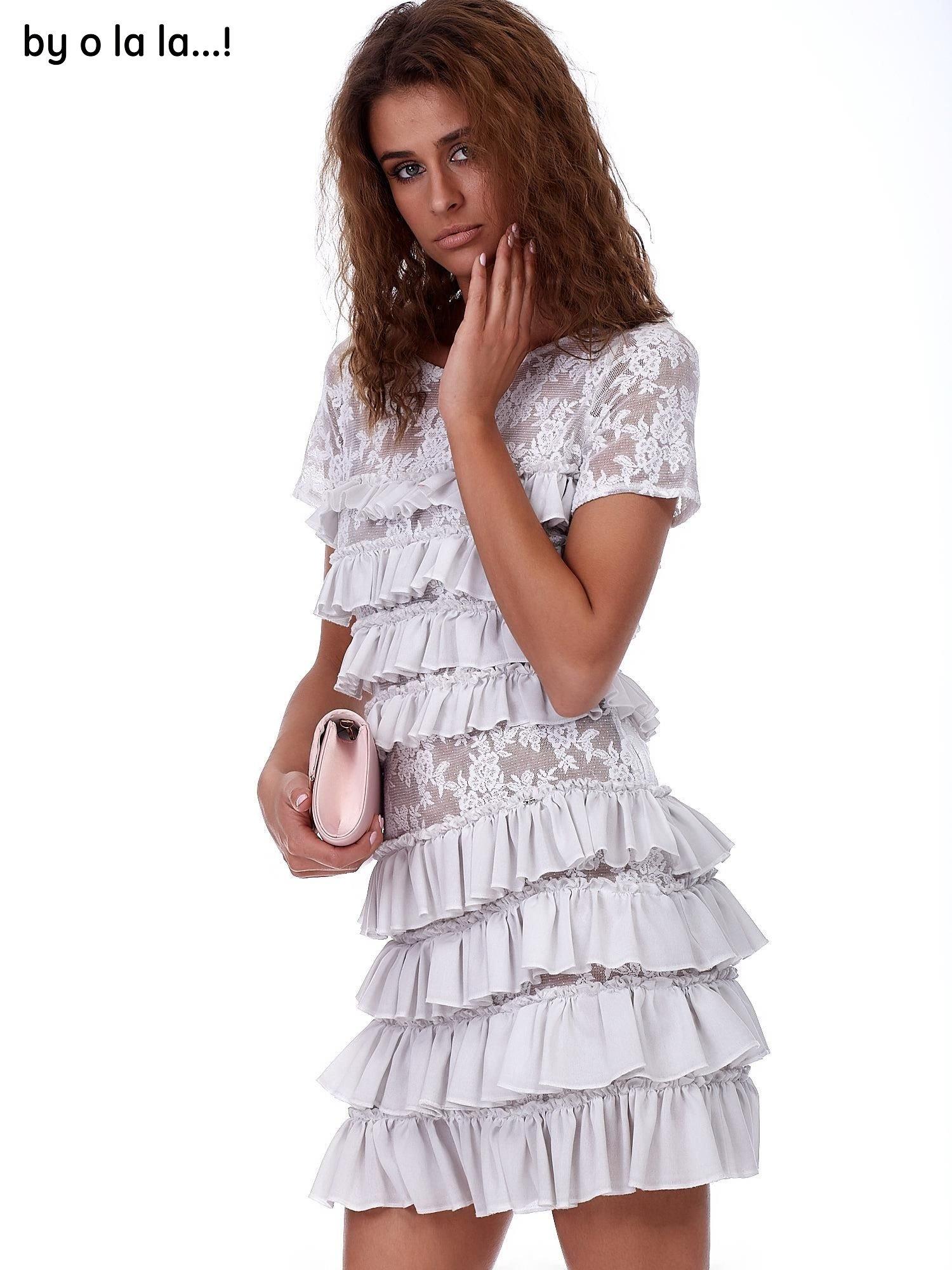 12f19a52c1 Sukienka szara koronkowa z falbanami BY O LA LA - Sukienka ...