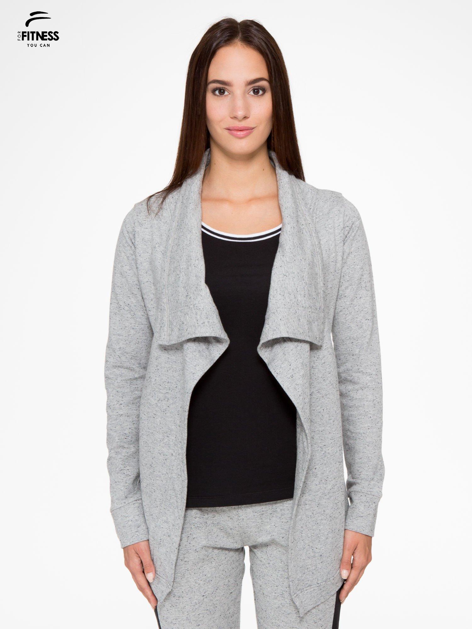 Szara bluza dresowa typu kardigan                                  zdj.                                  1