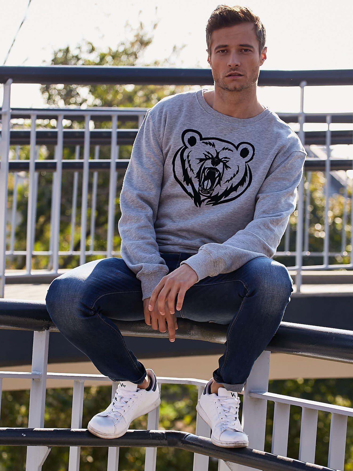 Szara bluza męska z niedźwiedziem                                  zdj.                                  7