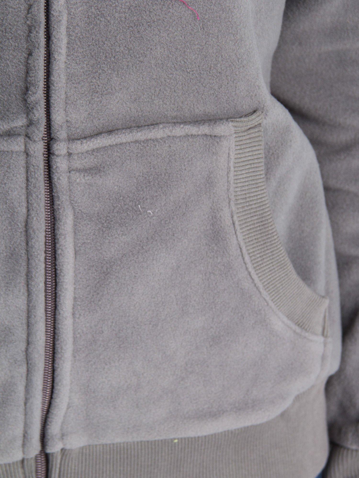 Szara bluza polarowa z kapturem z uszkami                                  zdj.                                  7