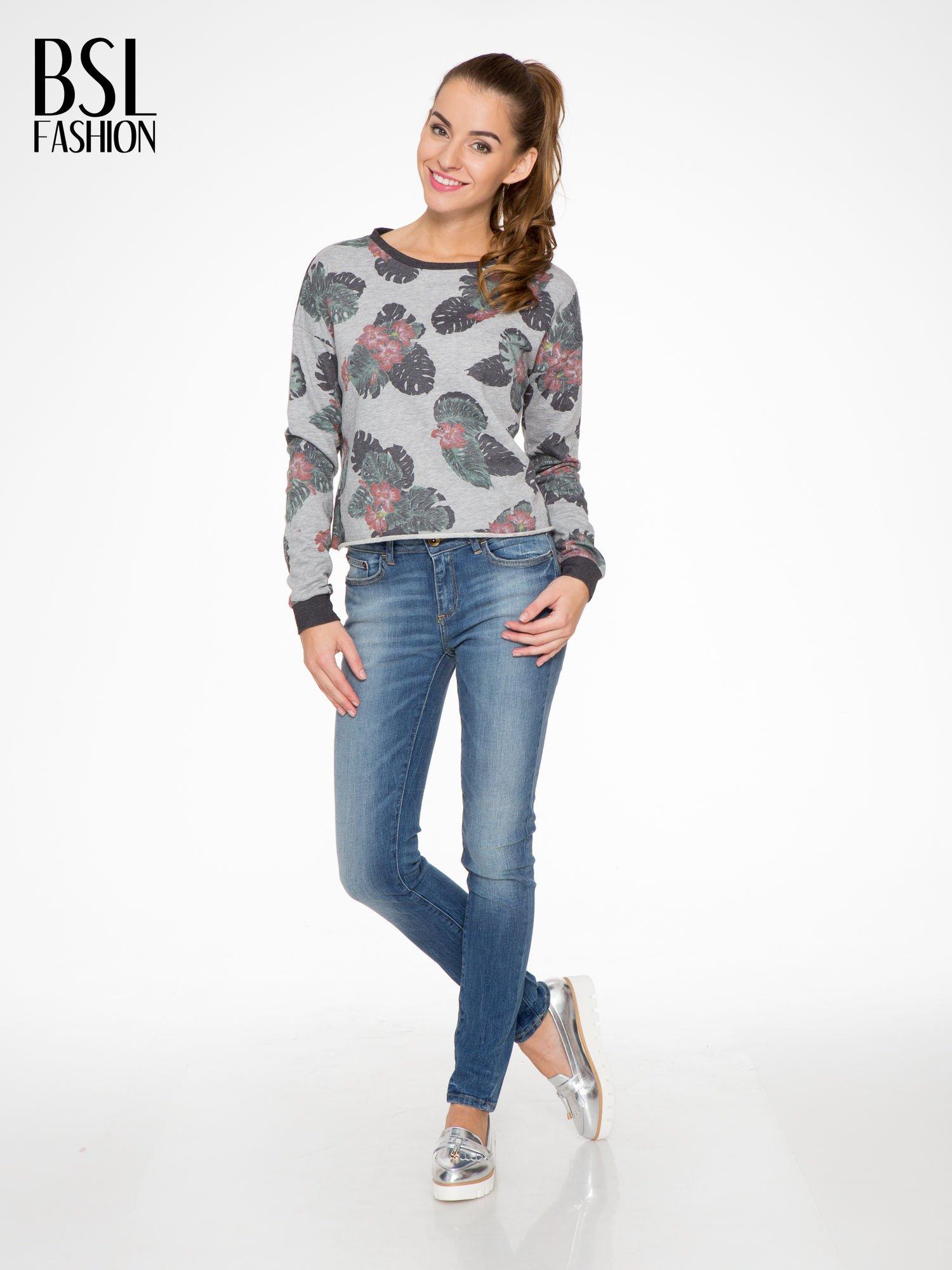 Szara bluza z nadrukiem floral print                                  zdj.                                  2