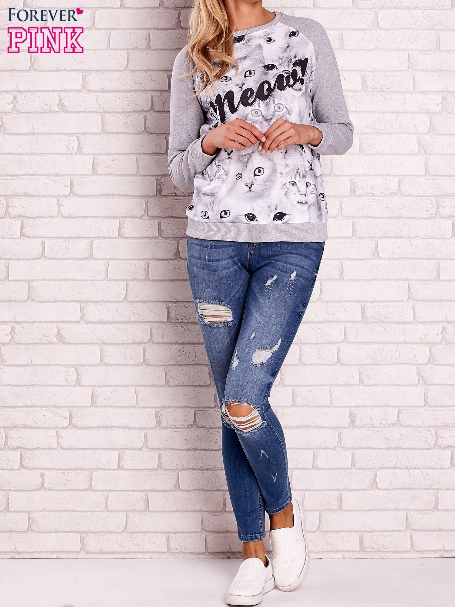 Szara bluza z nadrukiem kotów i napisem                                  zdj.                                  2