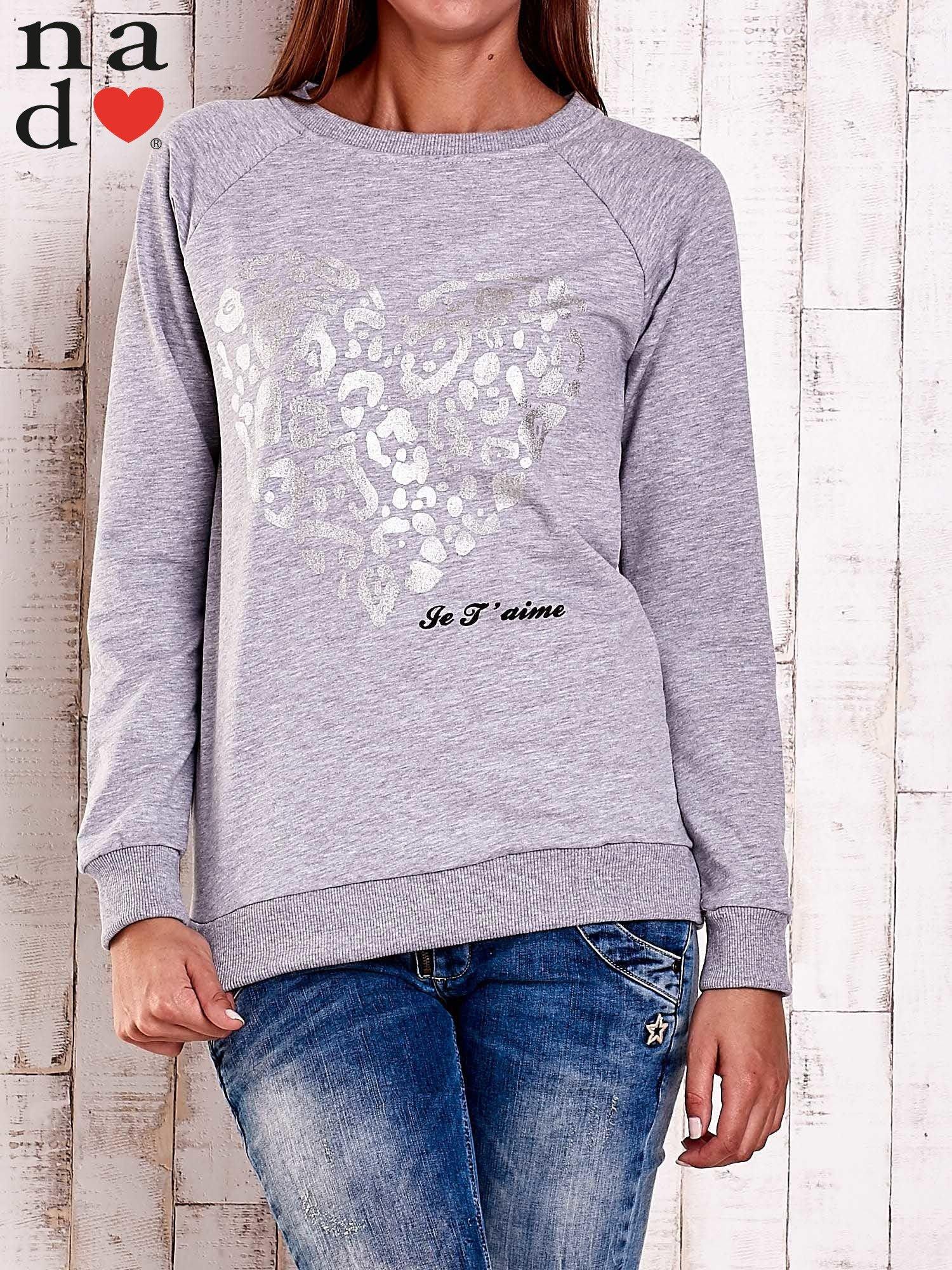 Szara bluza z nadrukiem serca i napisem JE T'AIME                                   zdj.                                  1