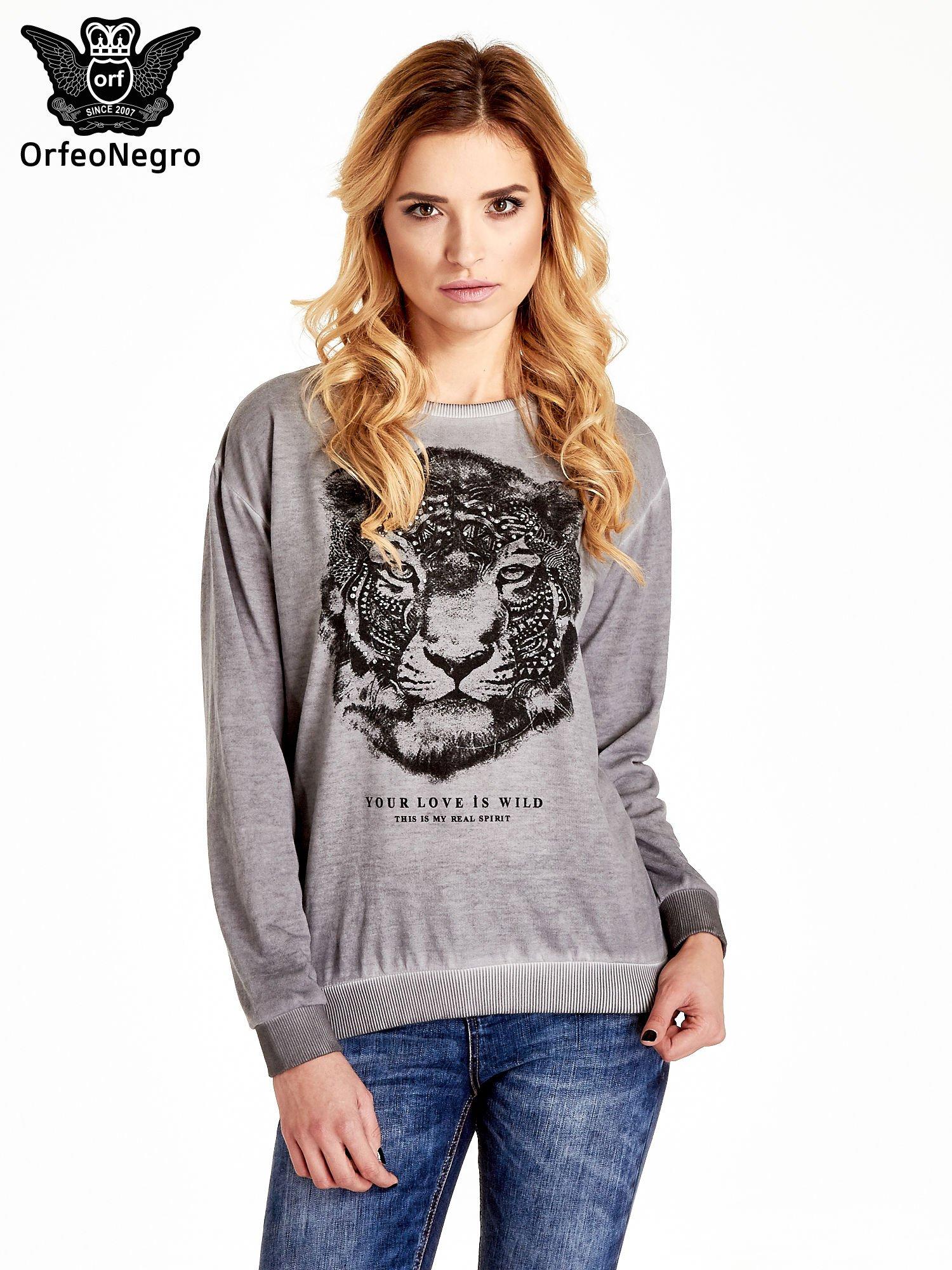 Szara bluza z nadrukiem tygrysa i dżetami                                  zdj.                                  1