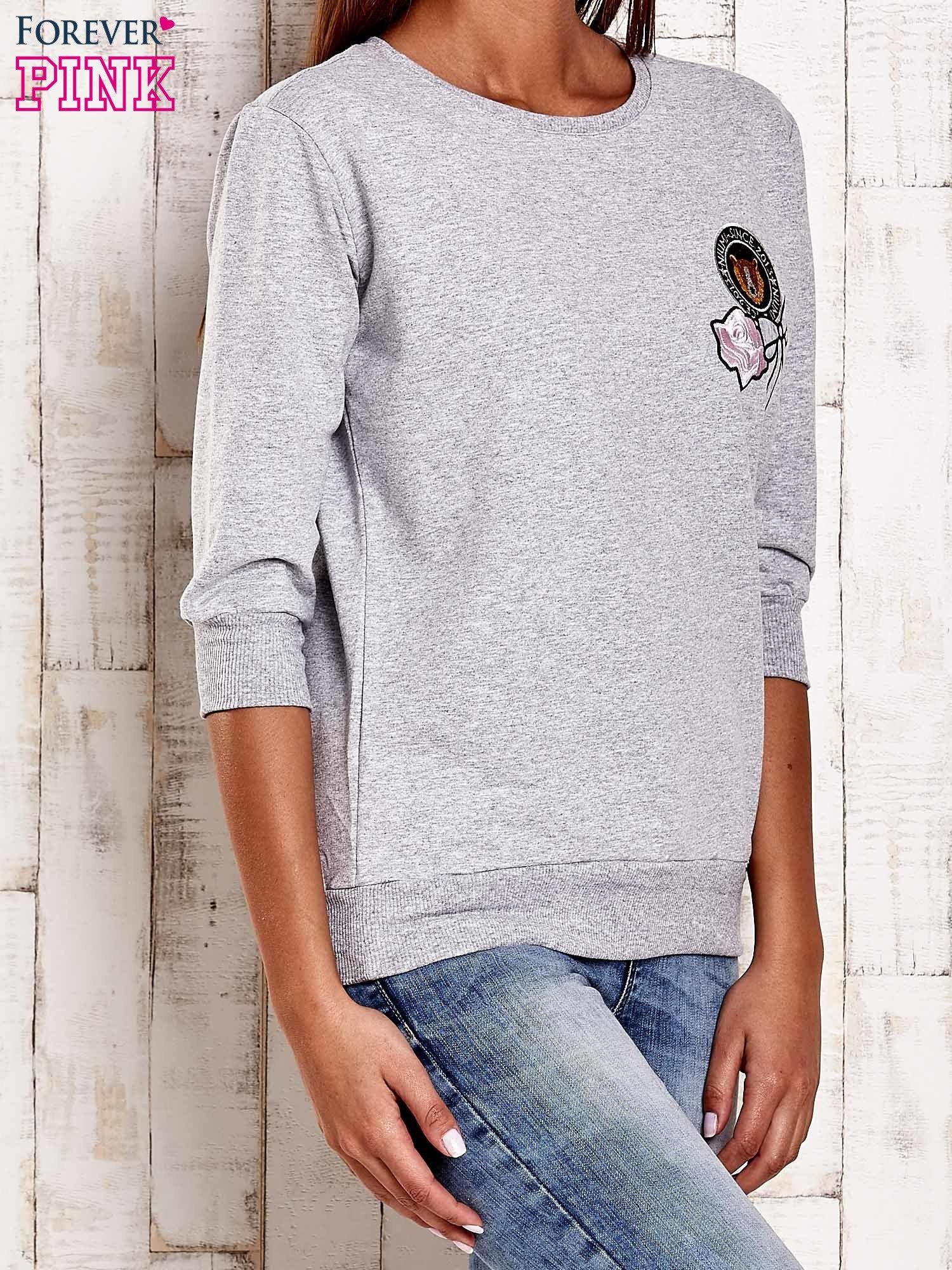 Szara bluza z naszywkami i ściągaczami                                  zdj.                                  3