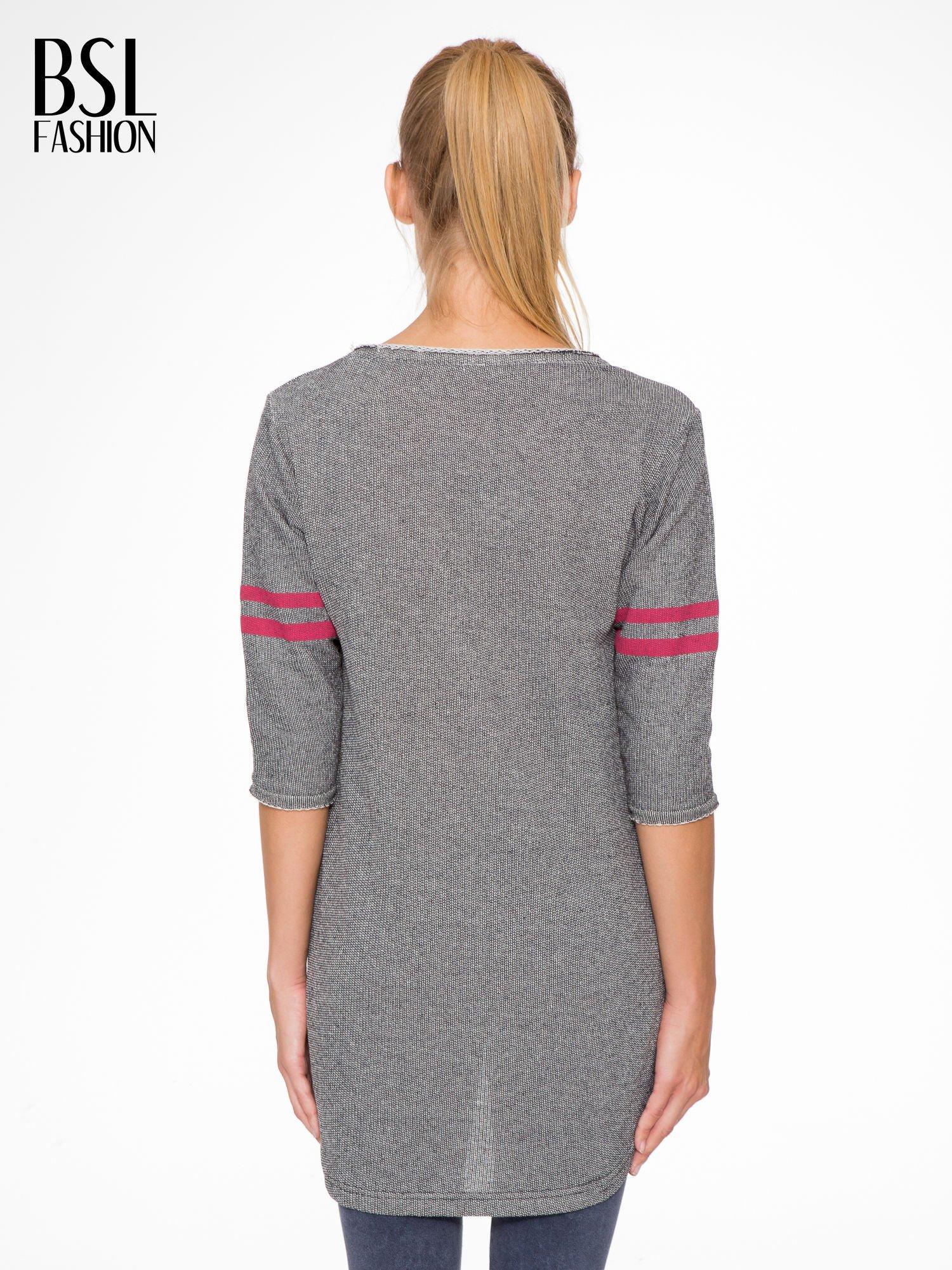 Szara bluza z numerkiem w stylu baseballowym                                  zdj.                                  4