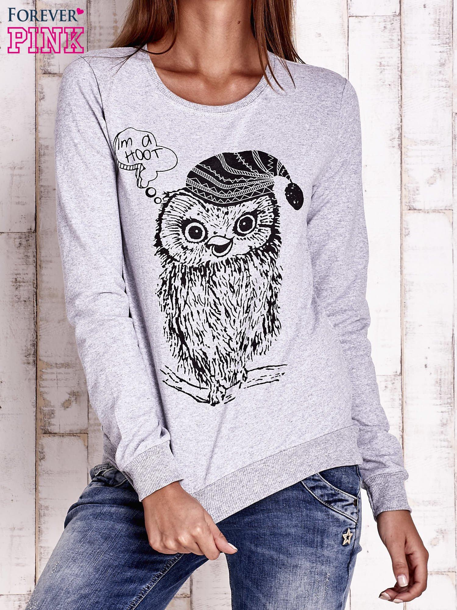Szara bluza ze zwierzęcym nadrukiem                                  zdj.                                  1
