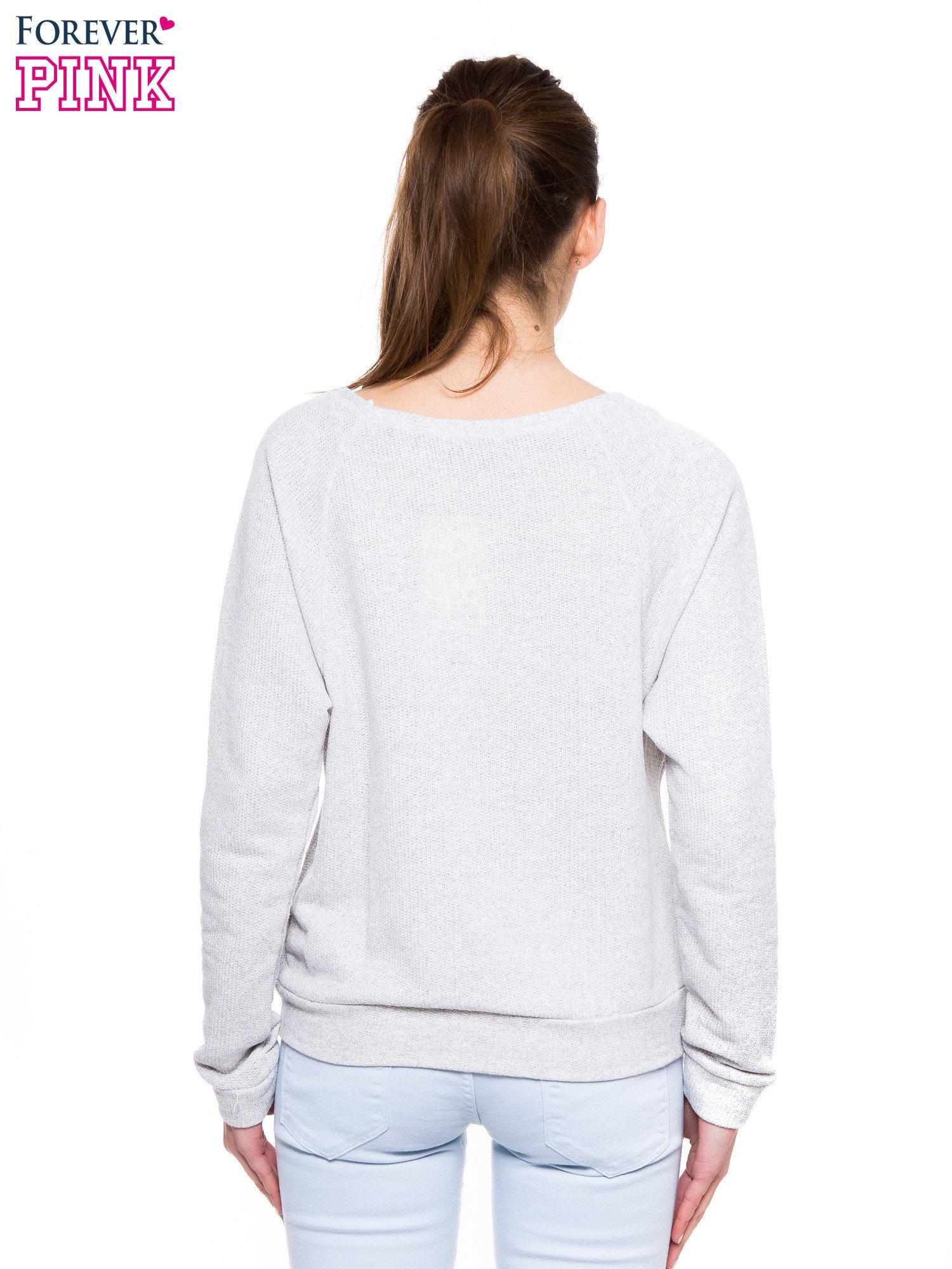 Szara dresowa bluza z aplikacją z cekinów                                  zdj.                                  3