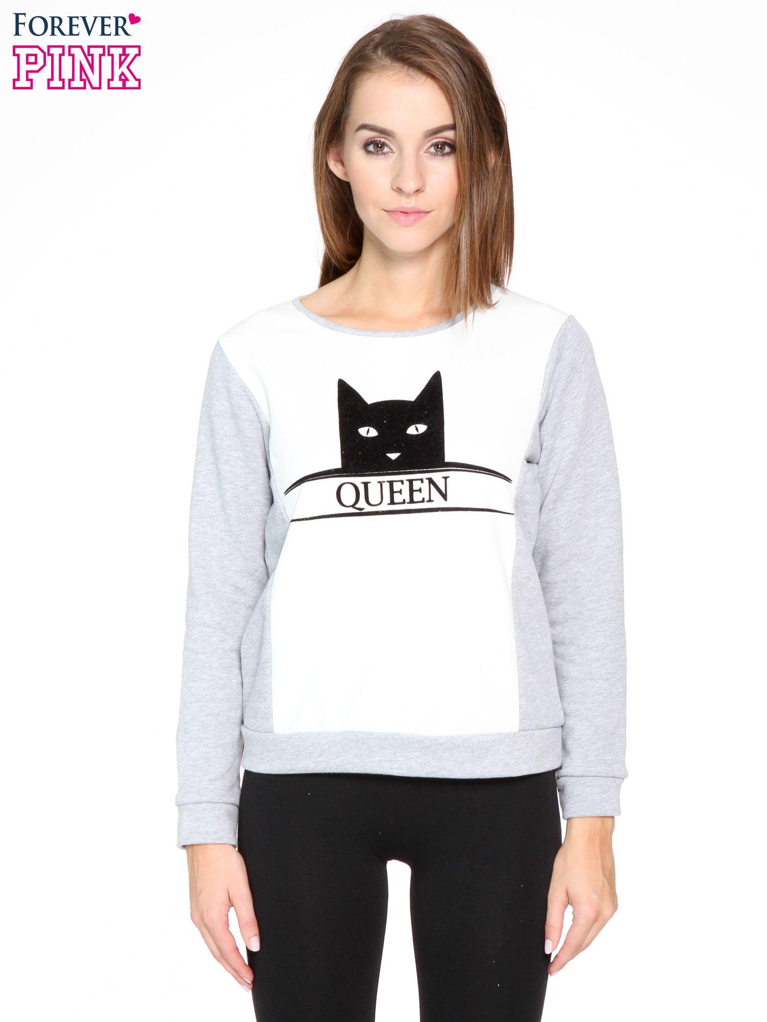 Szara dresowa bluza z nadrukiem kota i napisem QUEEN                                  zdj.                                  1