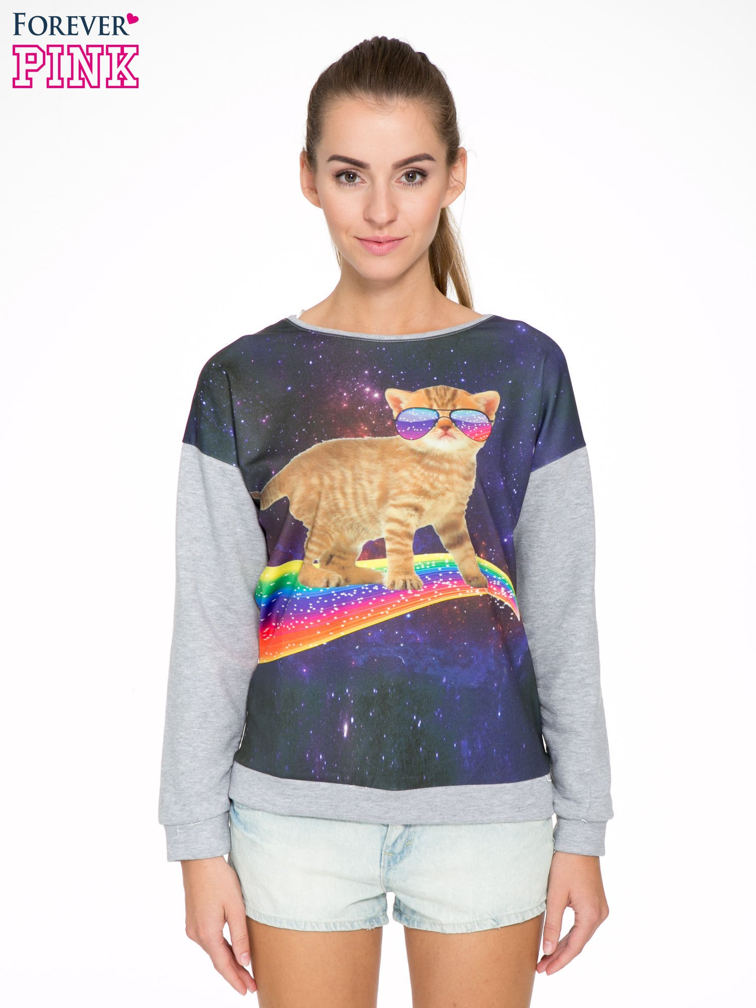 Szara dresowa bluza z nadrukiem kota z motywem galaxy                                  zdj.                                  1