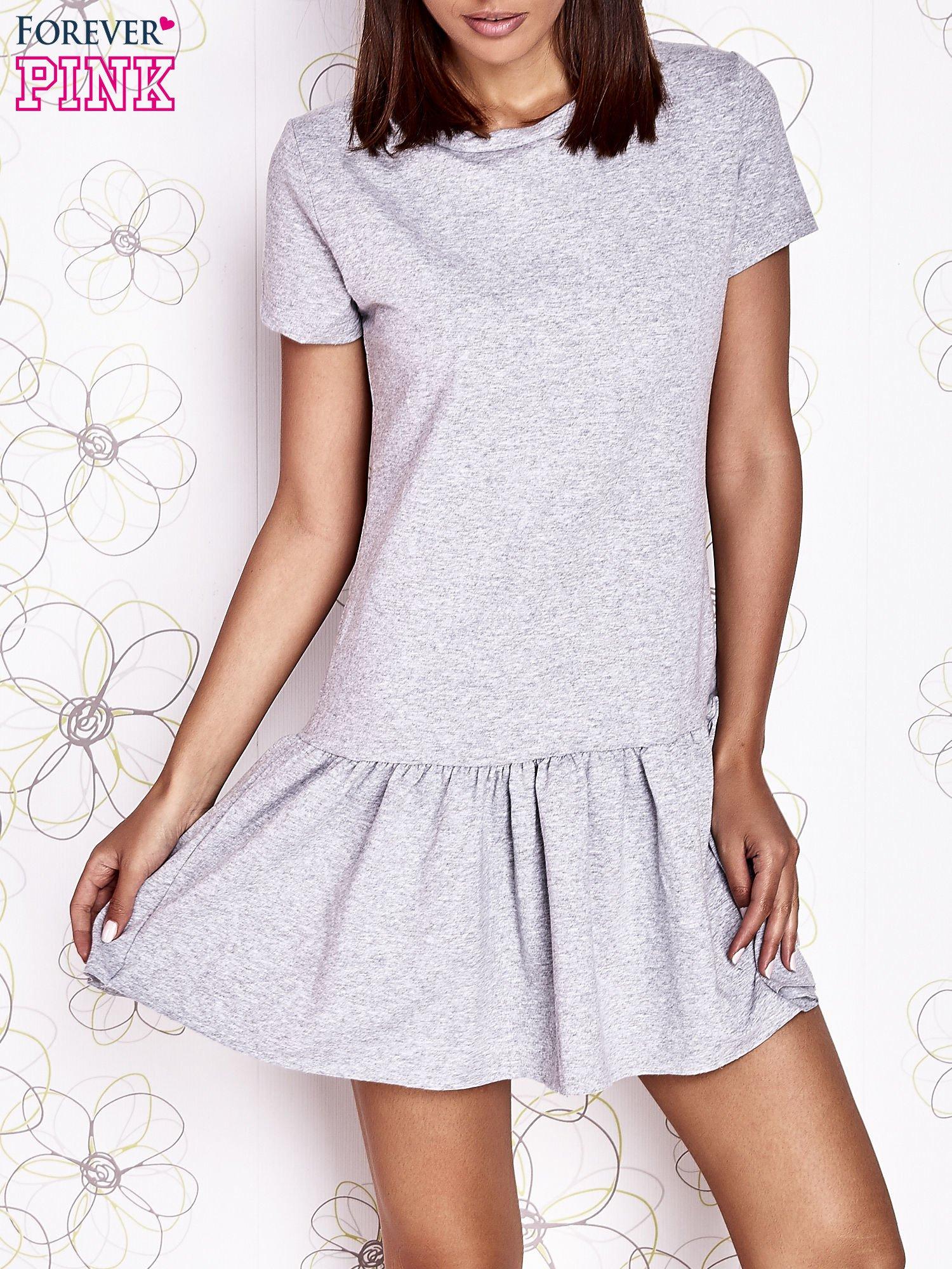 Szara dresowa sukienka z wycięciem na plecach                                   zdj.                                  1