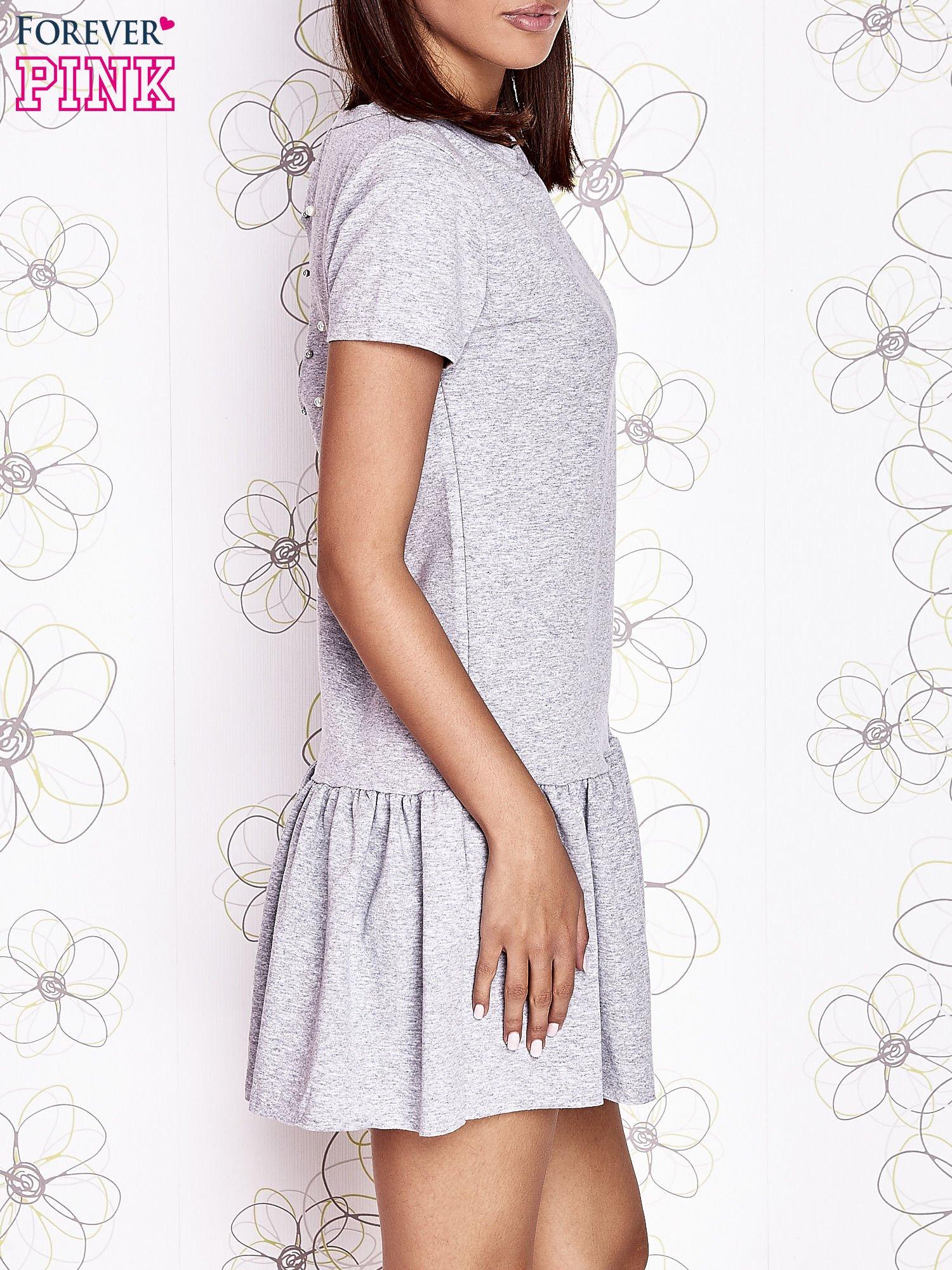 Szara dresowa sukienka z wycięciem na plecach                                   zdj.                                  3