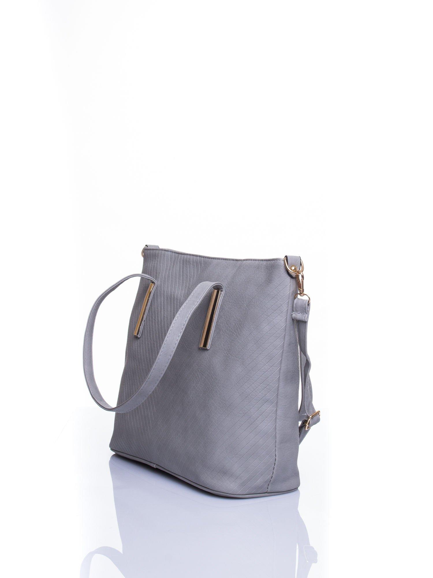 Szara fakturowana torba shopper bag                                  zdj.                                  4
