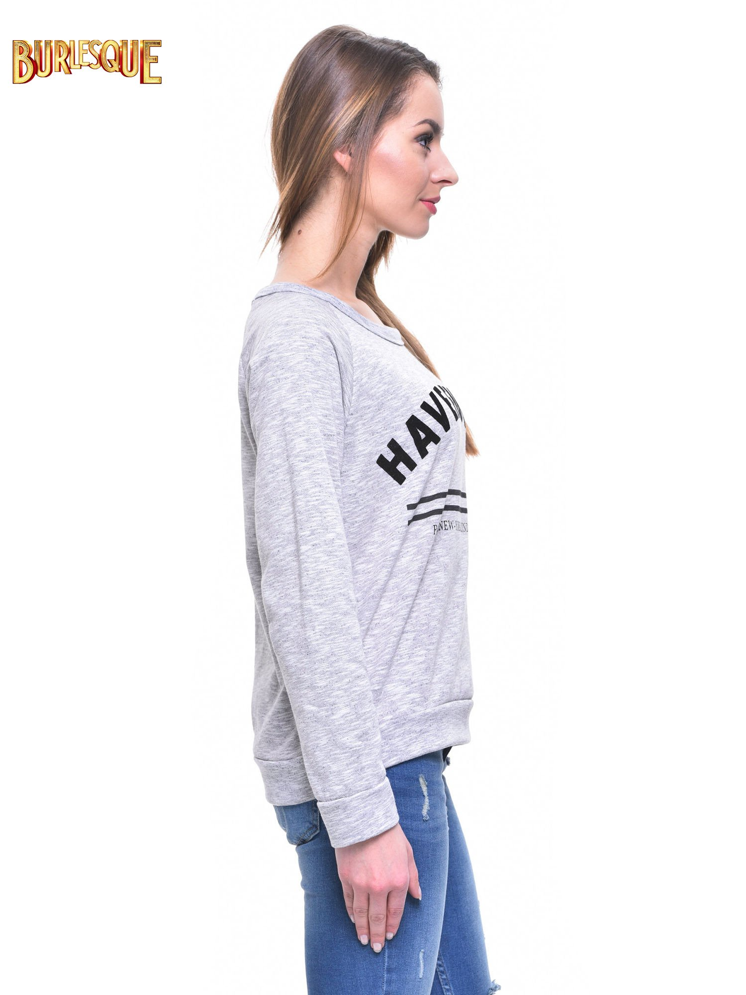 Szara melanżowa damska bluza z napisem HAVE FUN IN PARIS, NEW YORK, LONDON, MILAN                                  zdj.                                  3