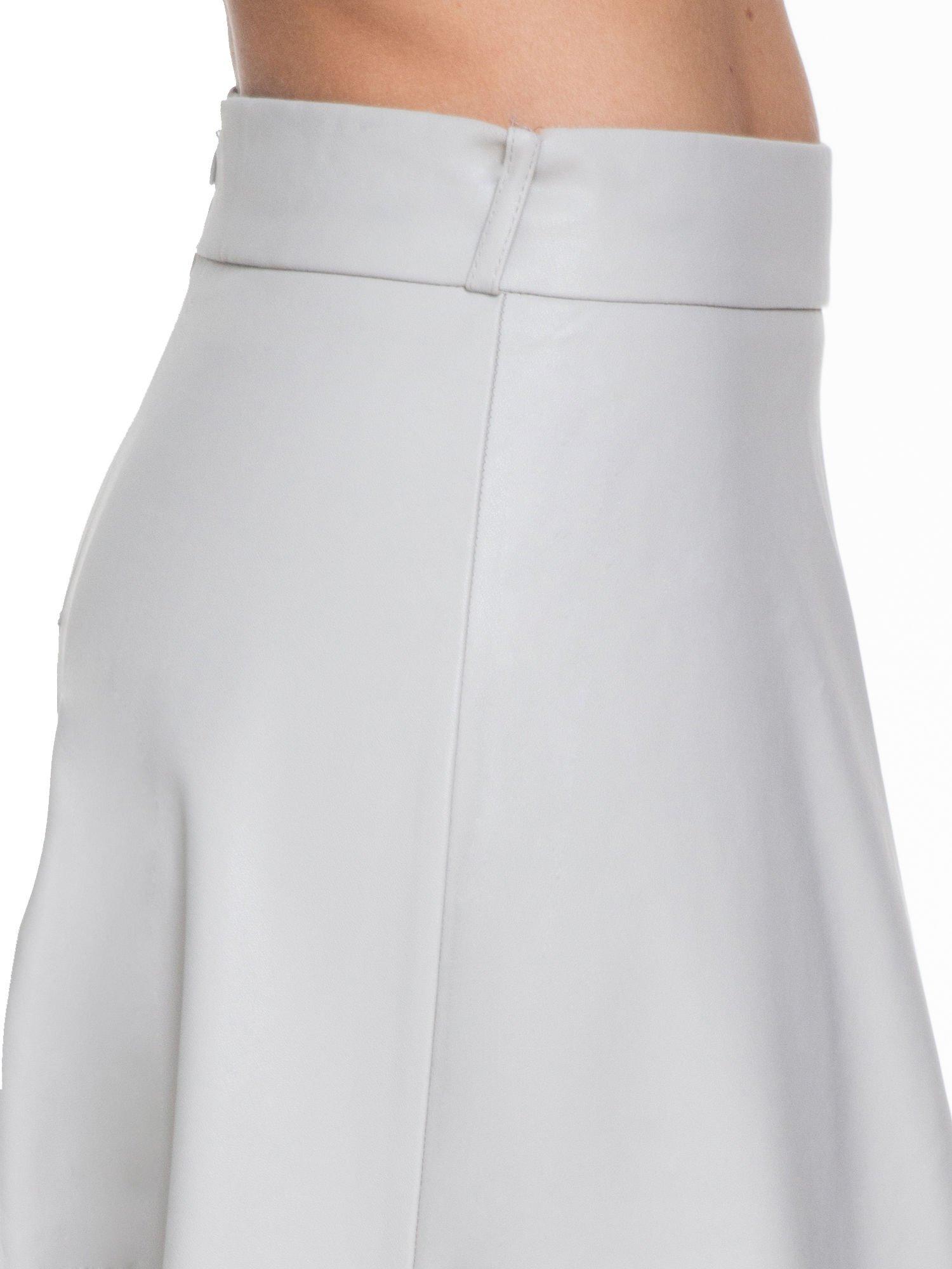 Szara skórzana spódnica midi szyta z półkola                                  zdj.                                  5