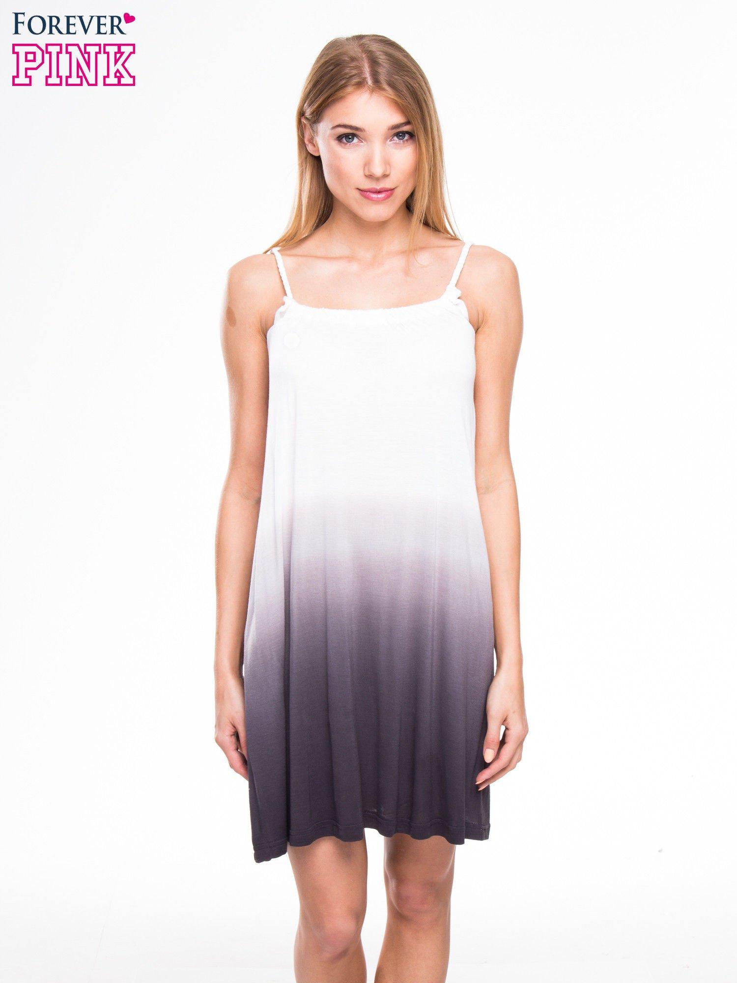 Szara sukienka na ramiączka z efektem ombre                                  zdj.                                  1