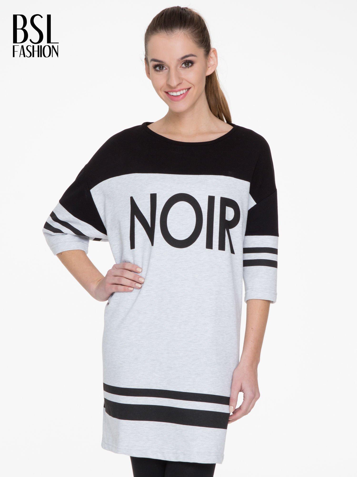 Szara sukienka z napisem NOIR w stylu sportowym                                  zdj.                                  1