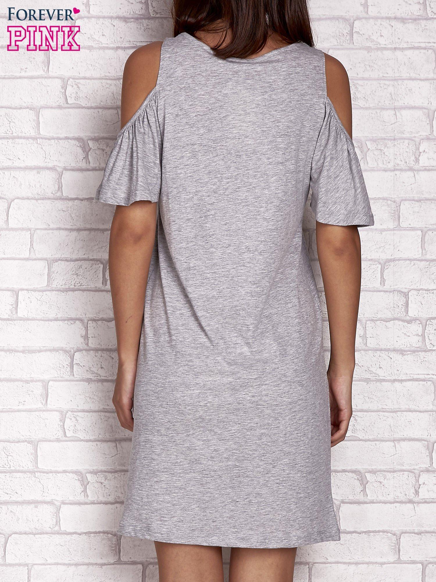 Szara sukienka z rękawami cut out                                  zdj.                                  2