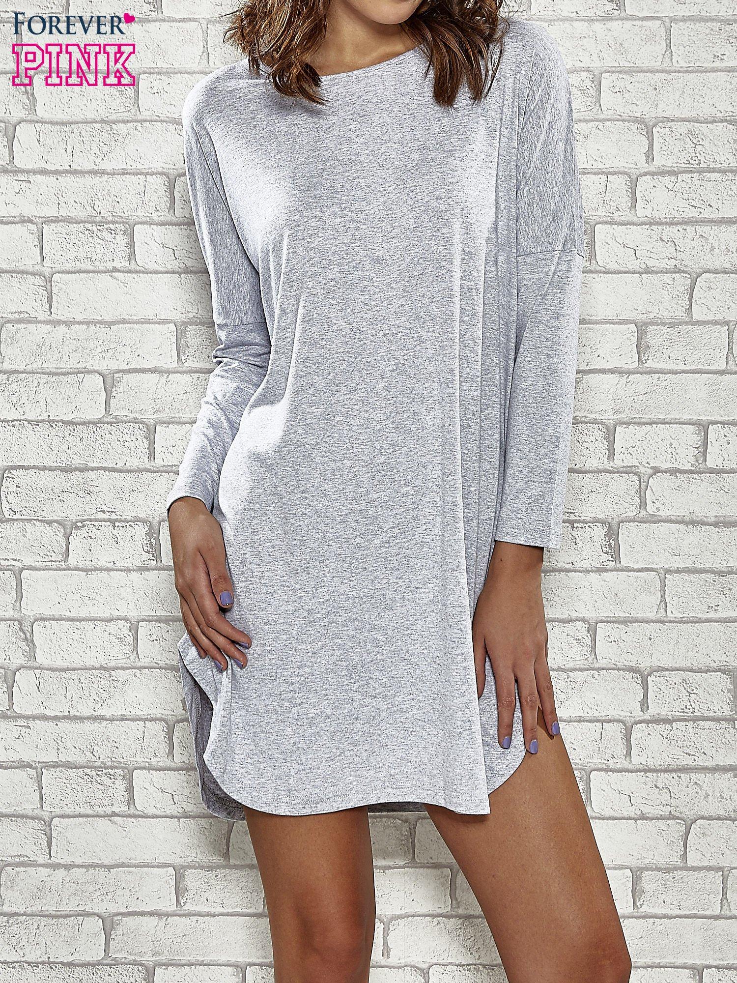 Szara sukienka z rozporkami po bokach                                  zdj.                                  1