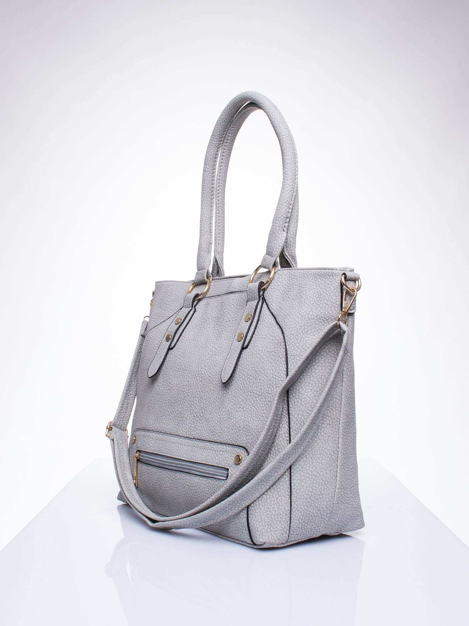 Szara torba shopper bag z suwakiem                                  zdj.                                  2