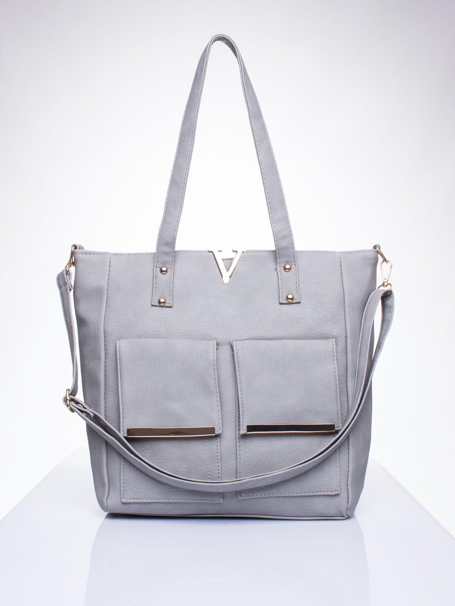 863c5737c8a6f Szara torba shopper bag ze kieszeniami na klapki - Akcesoria torba ...
