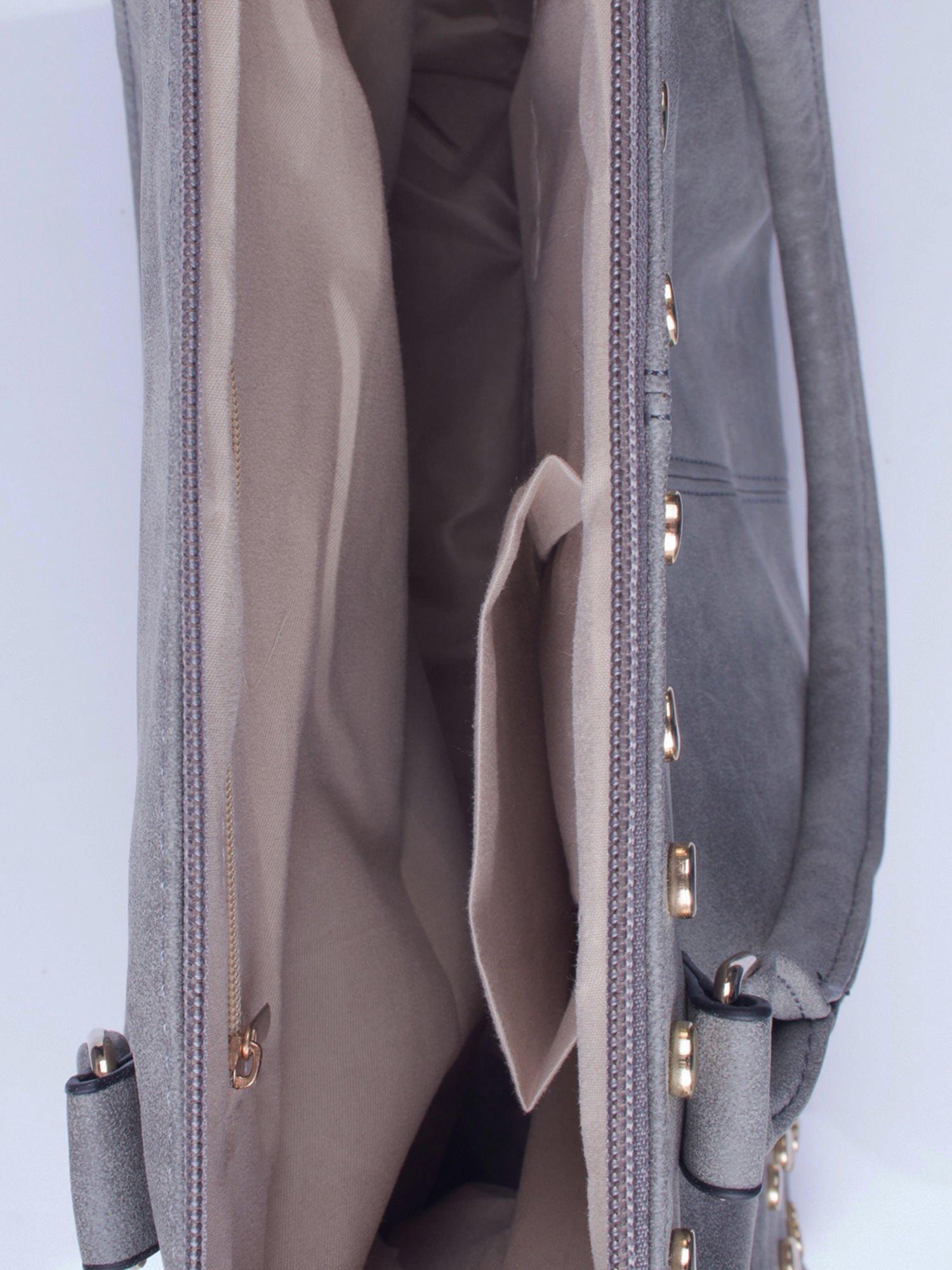 Szara torba shopper bag ze złotymi ćwiekami                                  zdj.                                  4