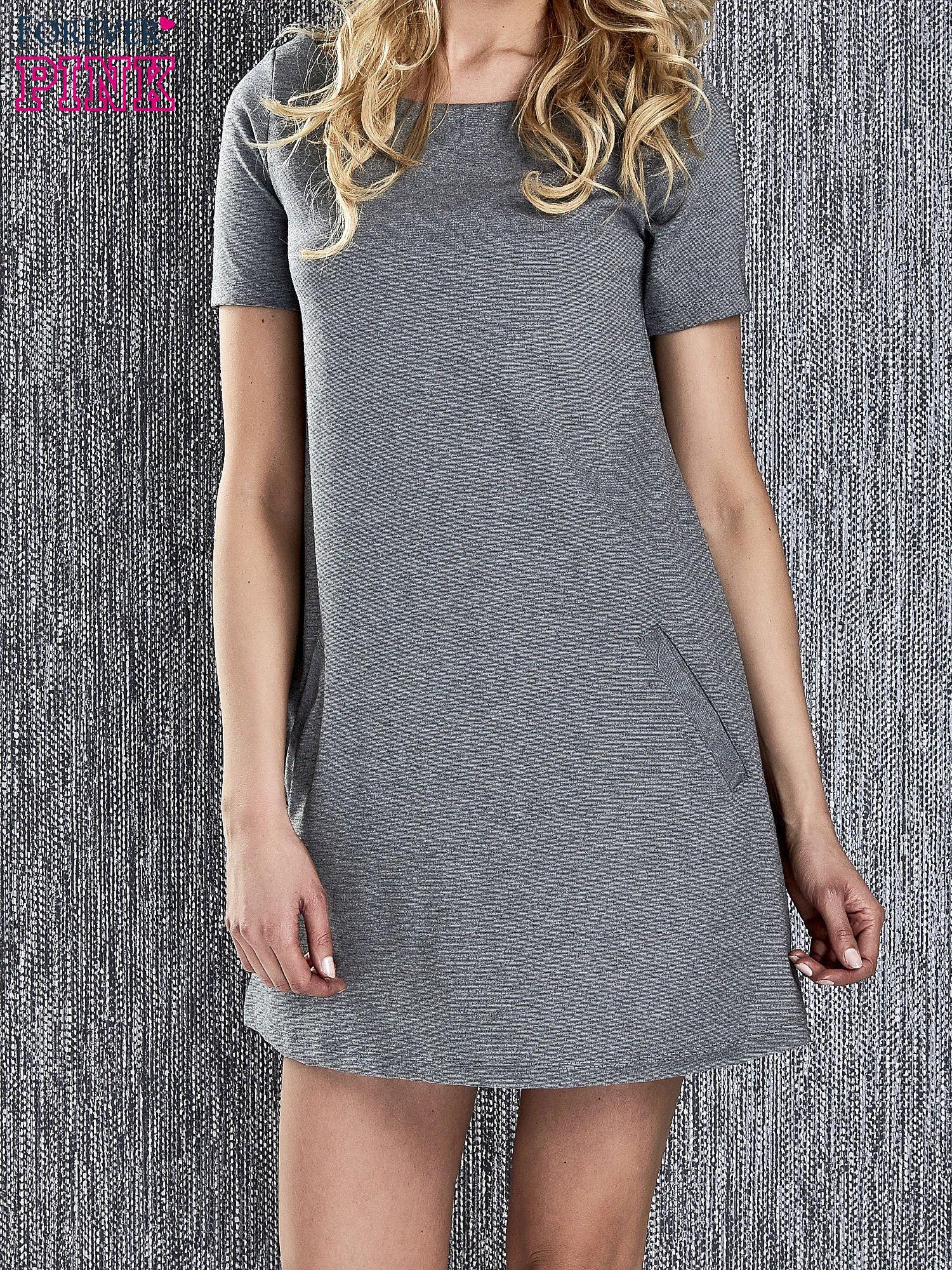 13cb7bb373 Szara trapezowa sukienka z kieszeniami - Sukienka na co dzień ...
