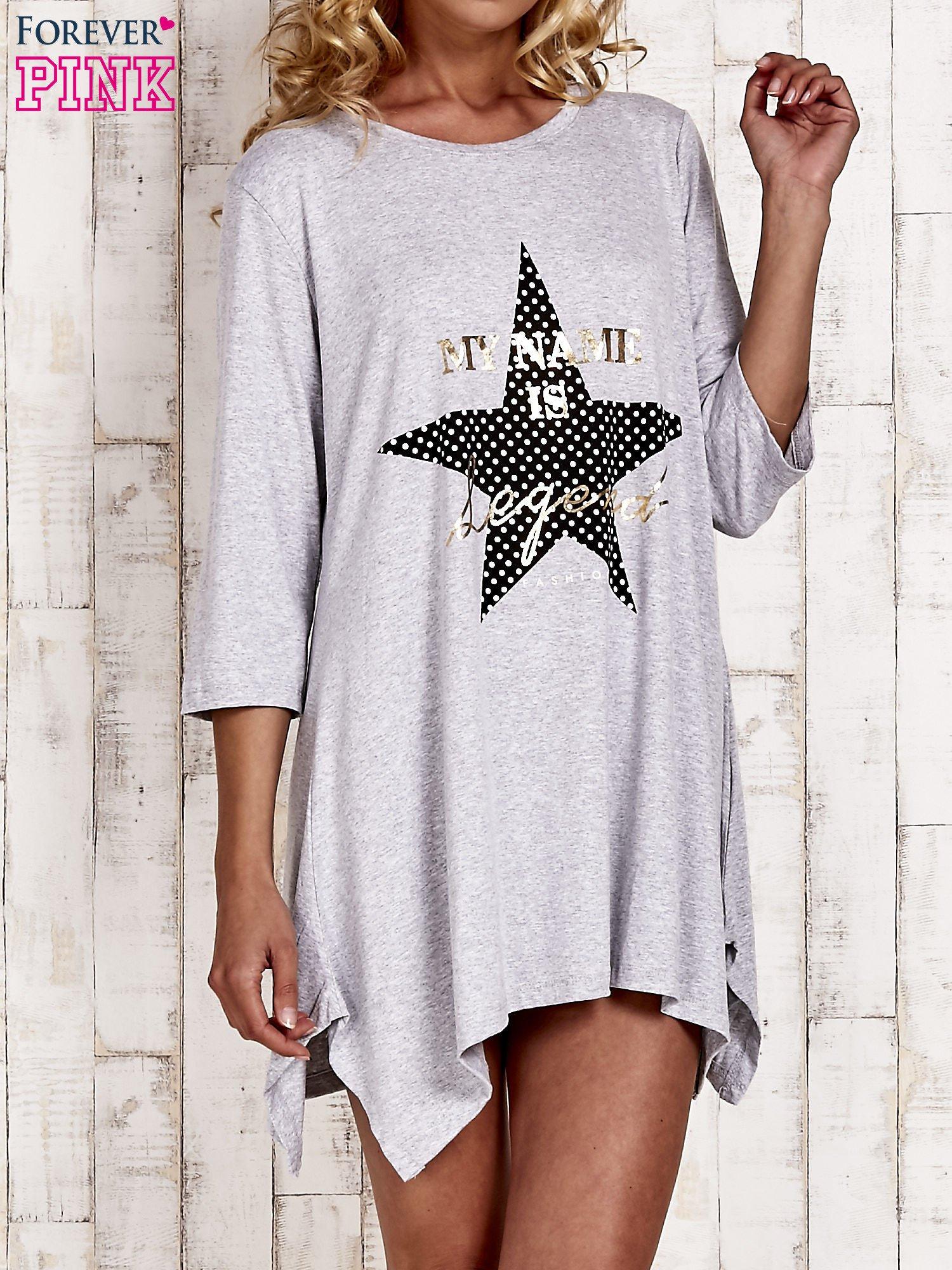 Szara tunika dresowa z printem gwiazdy                                  zdj.                                  1