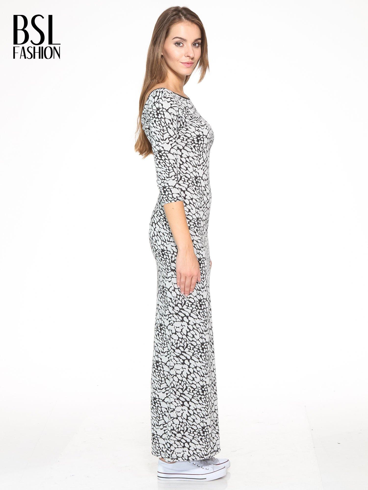 Szara wzorzysta sukienka maxi z rękawem 3/4                                  zdj.                                  3
