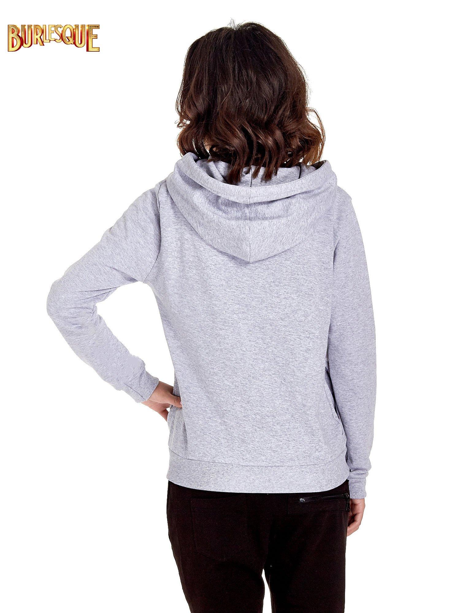 Szara zasuwana bluza z kapturem z nadrukiem numerycznym                                  zdj.                                  4