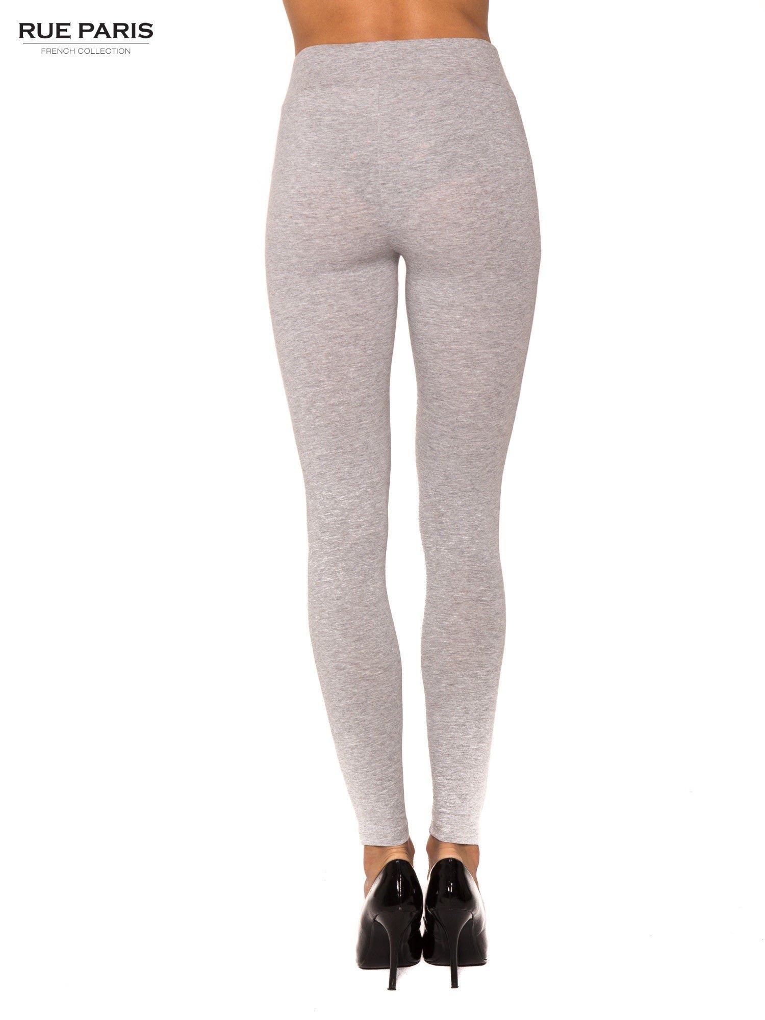Szare bawełniane legginsy z kontrastowym pasem wzdłuż nogawki                                  zdj.                                  3