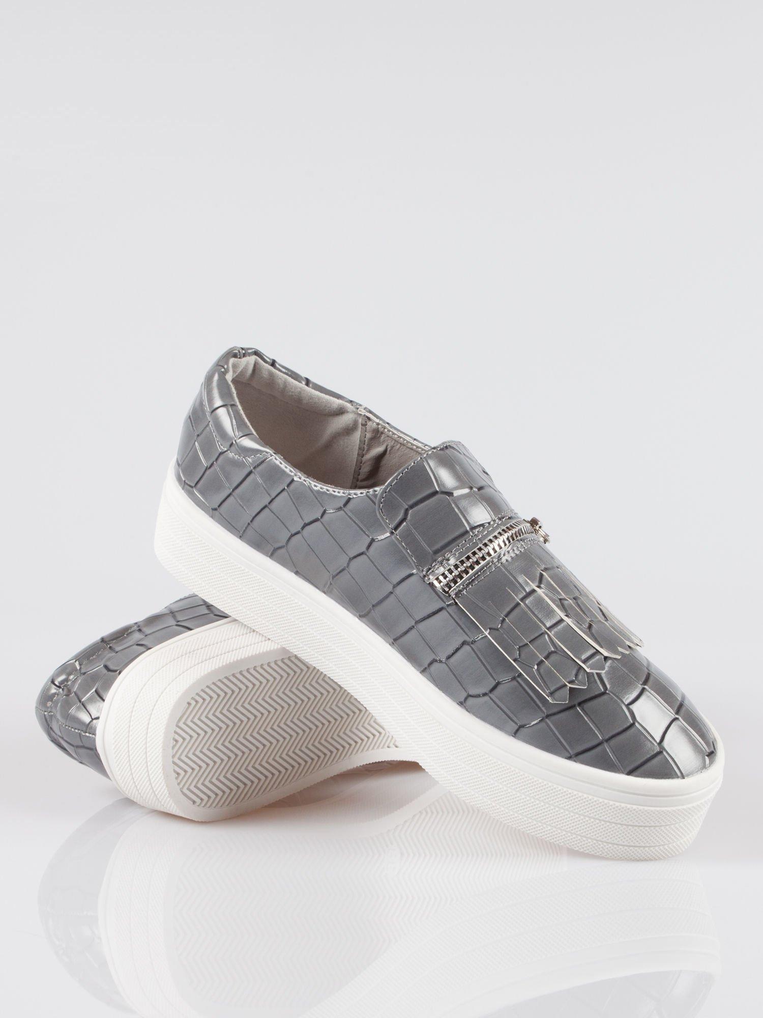 Szare buty slip on ze skóry krokodyla Jill                                  zdj.                                  4