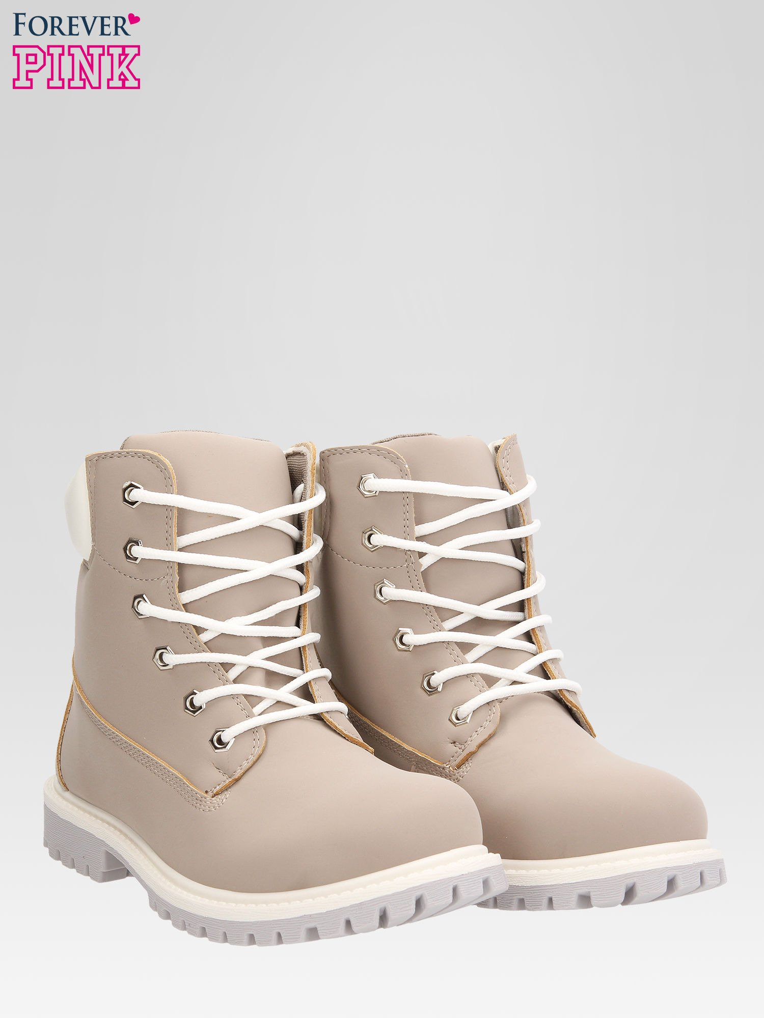 Szare buty trekkingowe damskie traperki                                  zdj.                                  2