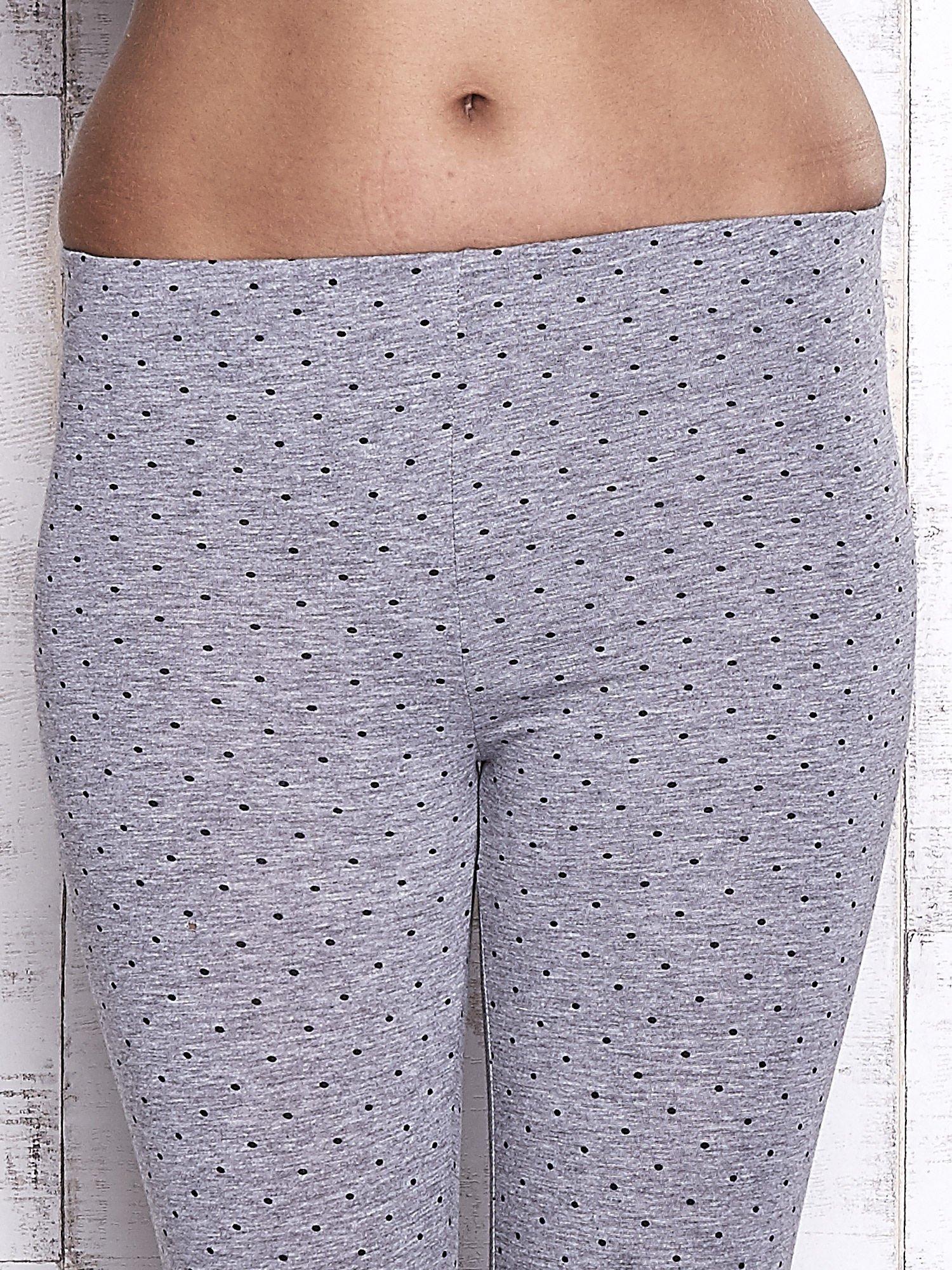 Szare melanżowe legginsy w kropki                                  zdj.                                  4