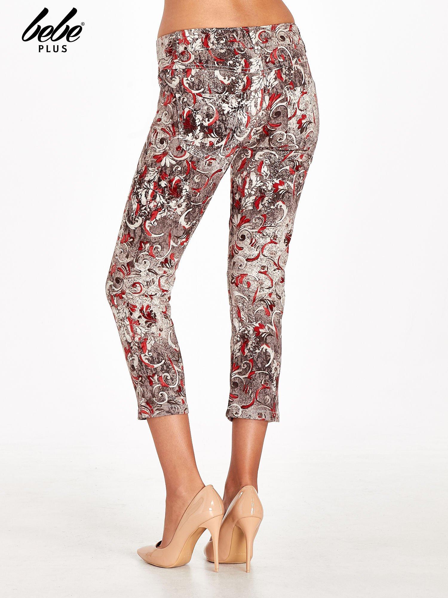 Szare spodnie skinny w kwiaty                                  zdj.                                  4