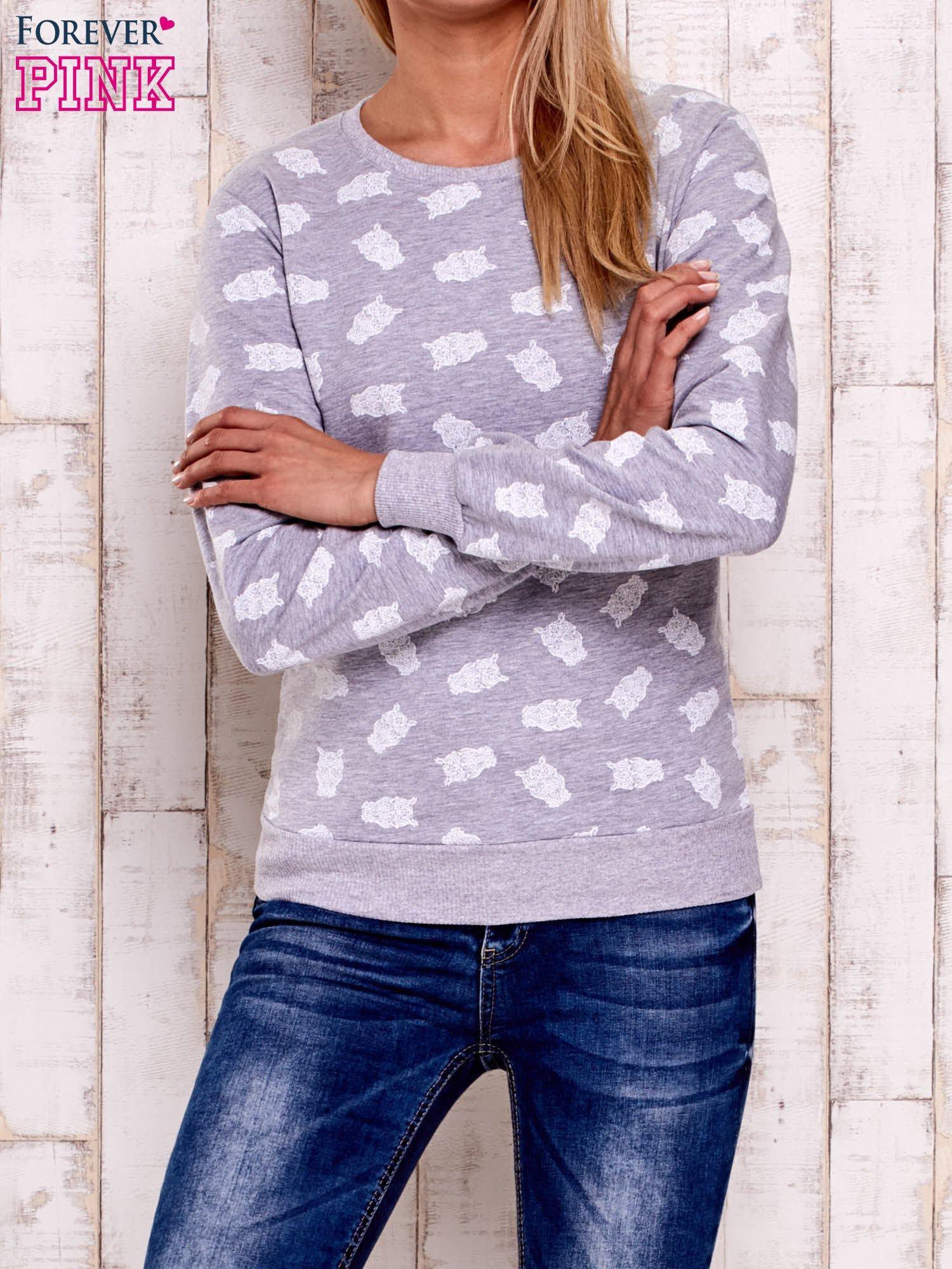 Szaro-biała bluza z motywem sów                                  zdj.                                  1