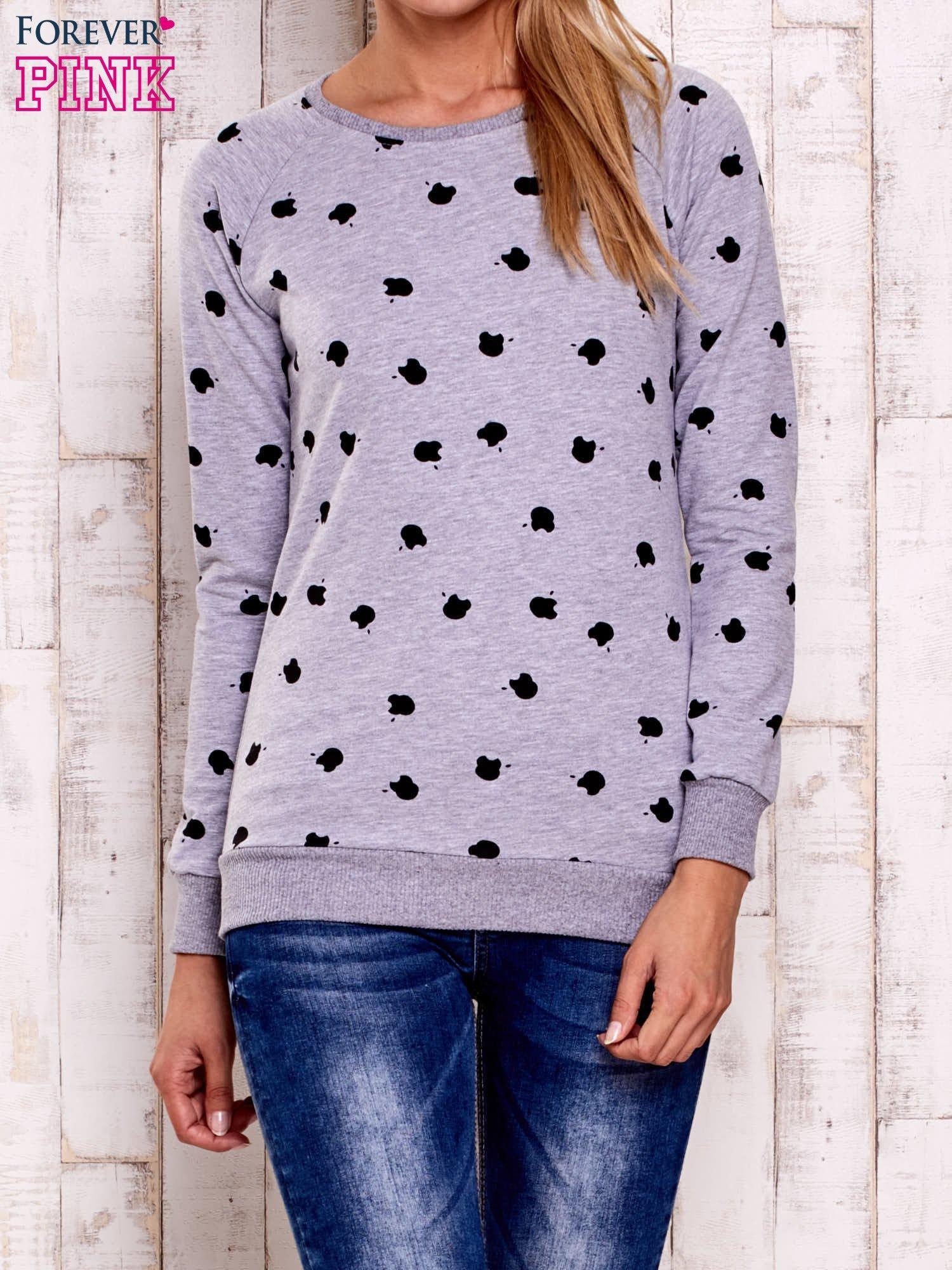 Szaro-czarna bluza z nadrukiem jabłuszka                                  zdj.                                  1