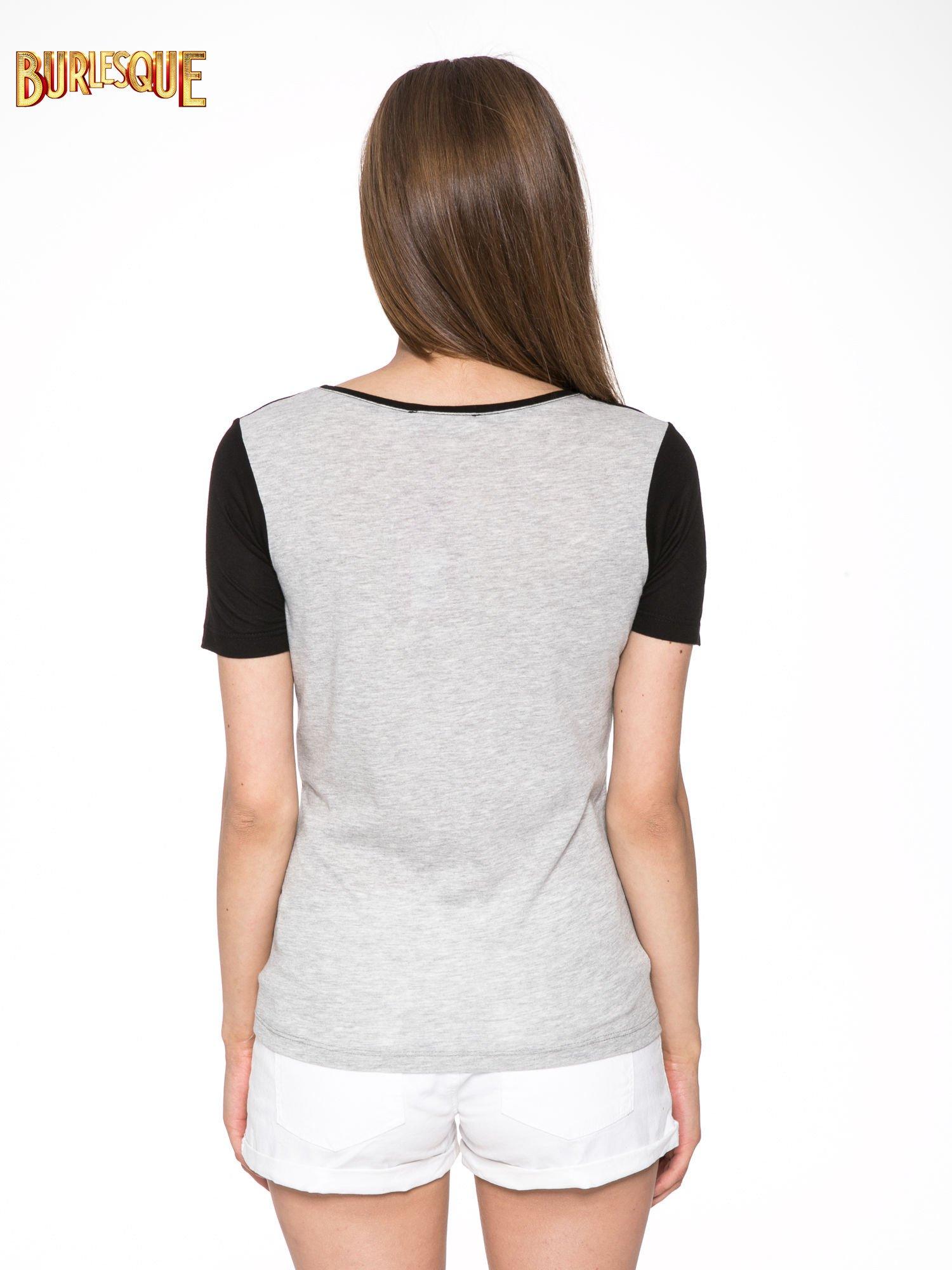 Szaro-czarny t-shirt z nadrukiem FASHION 88                                  zdj.                                  4